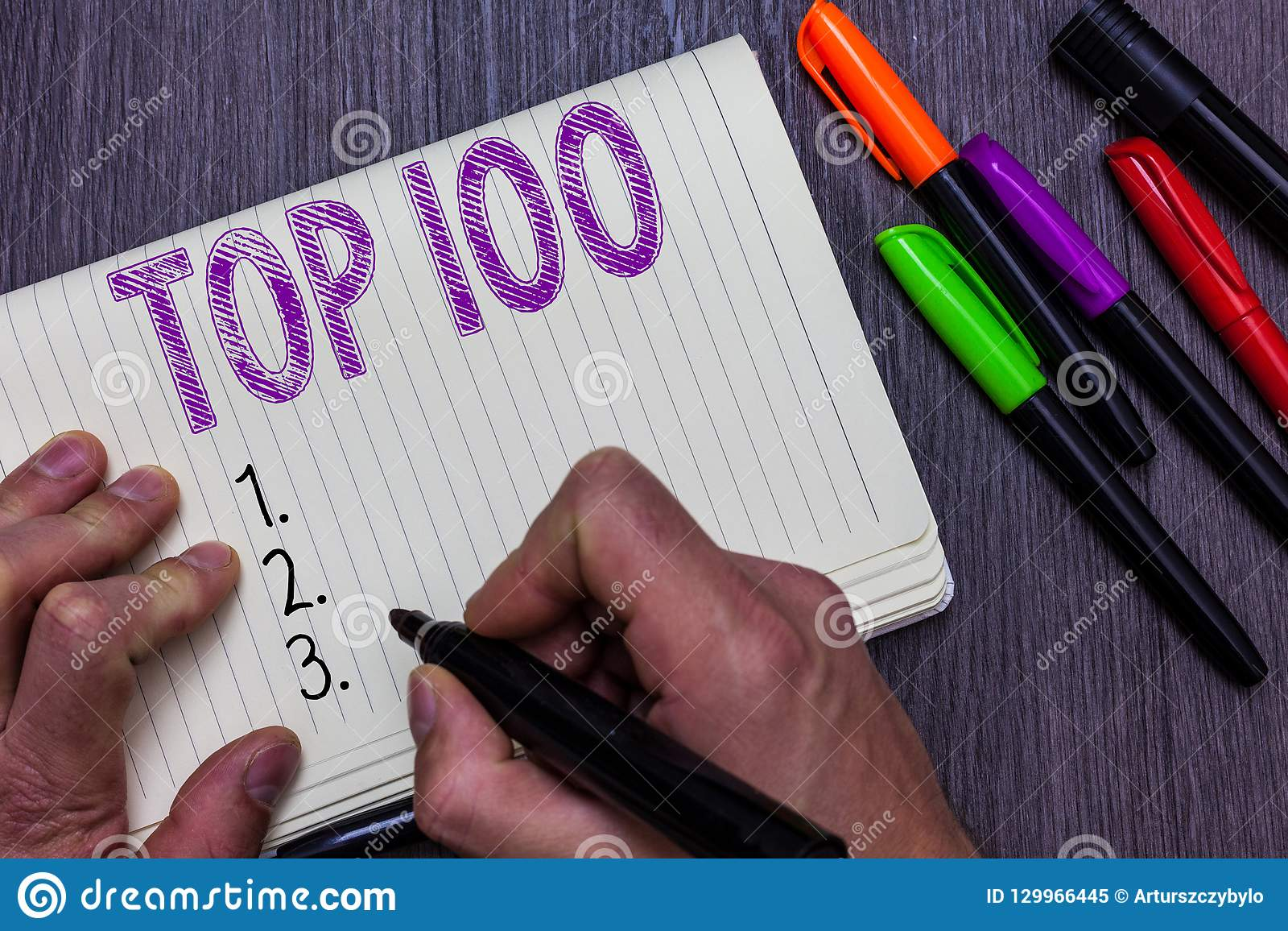 Text sign showing Top 100. Conceptual photo List of best products services Popular Bestseller Premium high rate Man