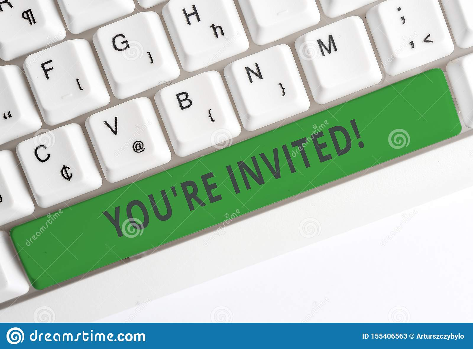 Text sign showing You Re Invited. Conceptual photo make a polite friendly request to someone go somewhere White pc