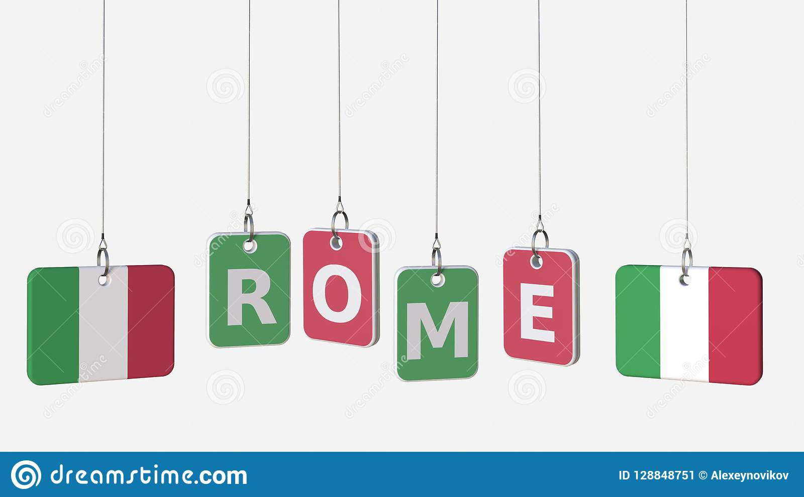 Flags Of ITALY And Rome Text On Hanging Plates  3D Rendering Stock