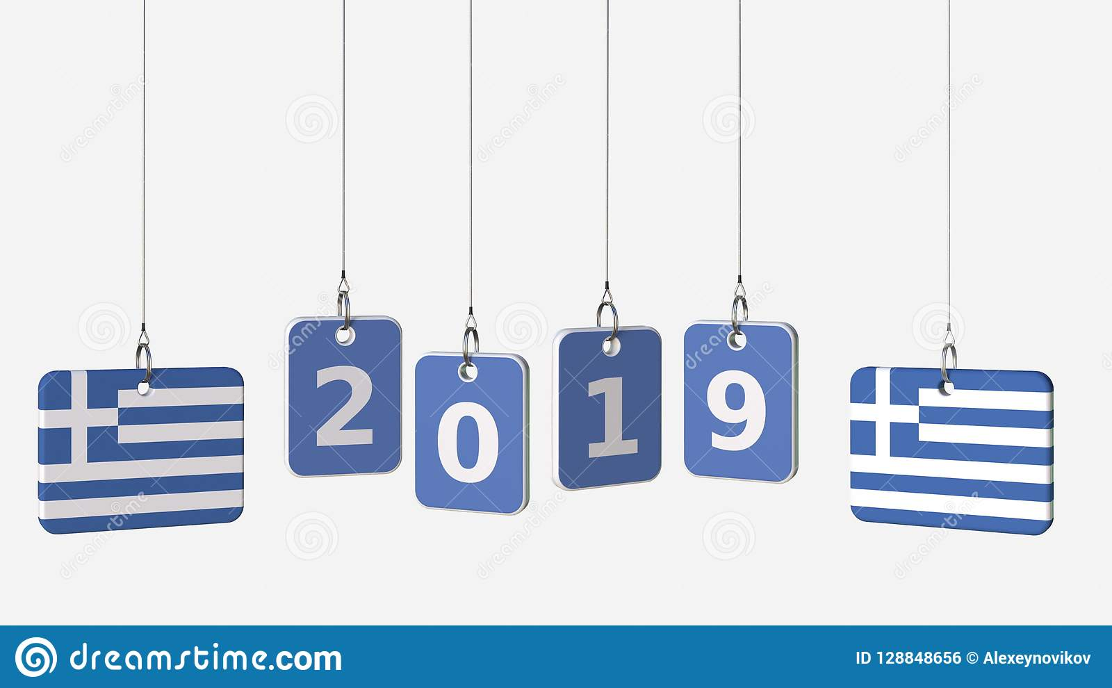 Tags Featuring Flags Of GREECE And 2019 Text  3D Rendering Stock