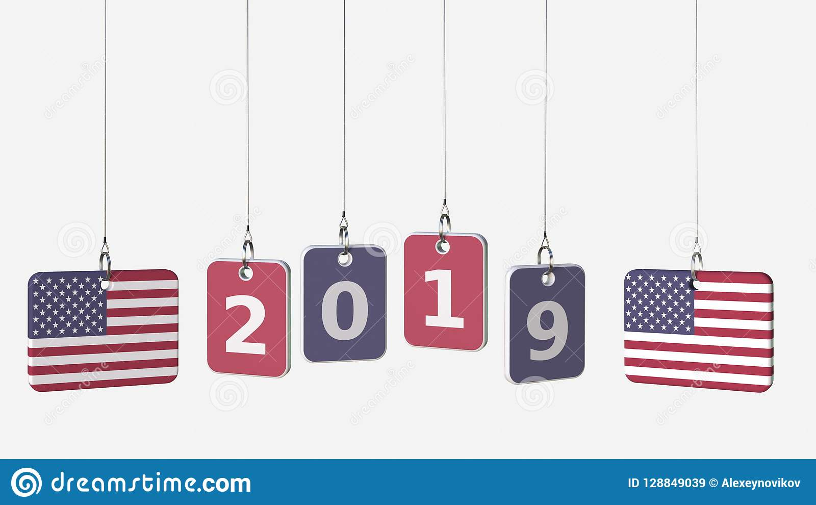 Tags Featuring Flags Of USA And 2019 Text  3D Rendering Stock