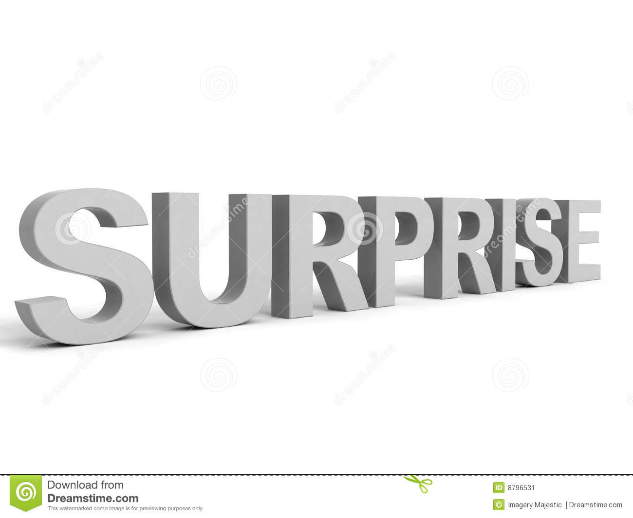 text surprise word in gray color stock illustration