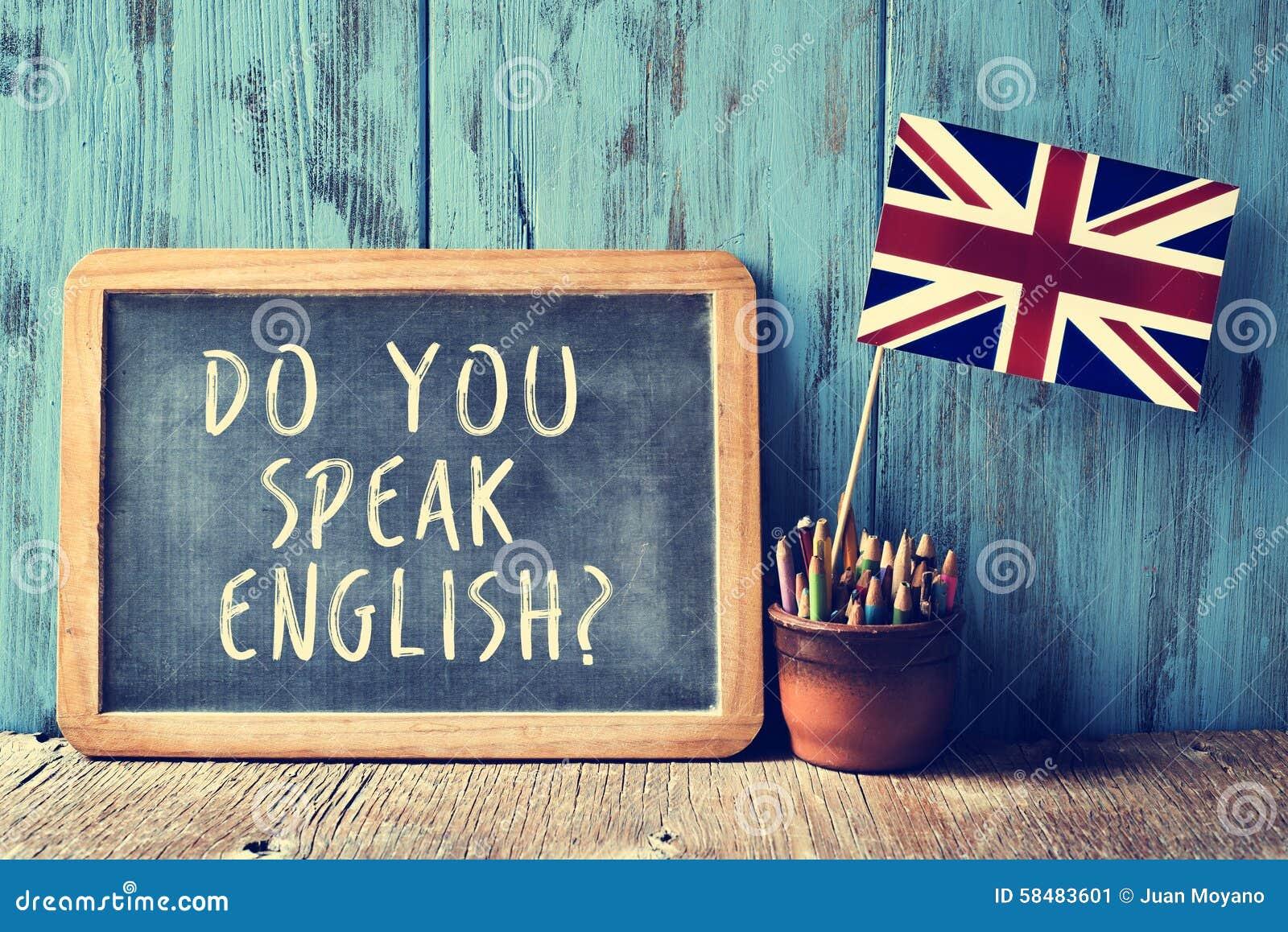 Text talar du engelska? i en svart tavla som filtreras