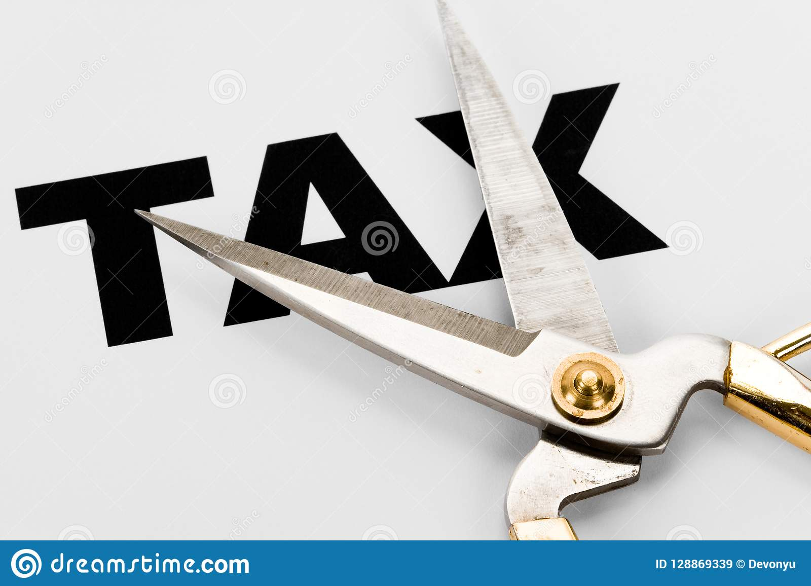 Tax cut concept to reduce taxes paying less vector illustration.