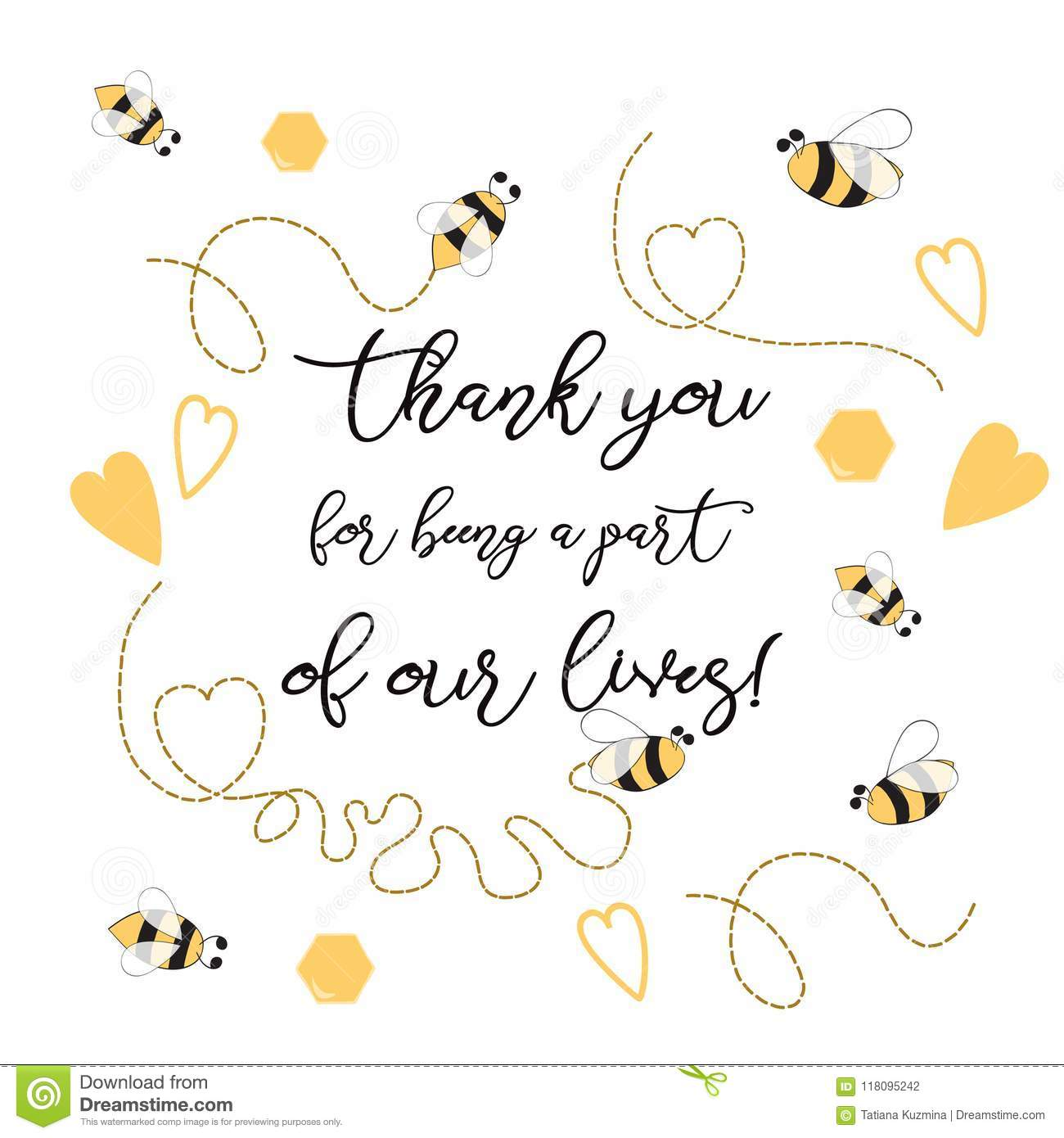 Text Thank You For Being A Part Of Our Leaves Sweet With Bee Honey