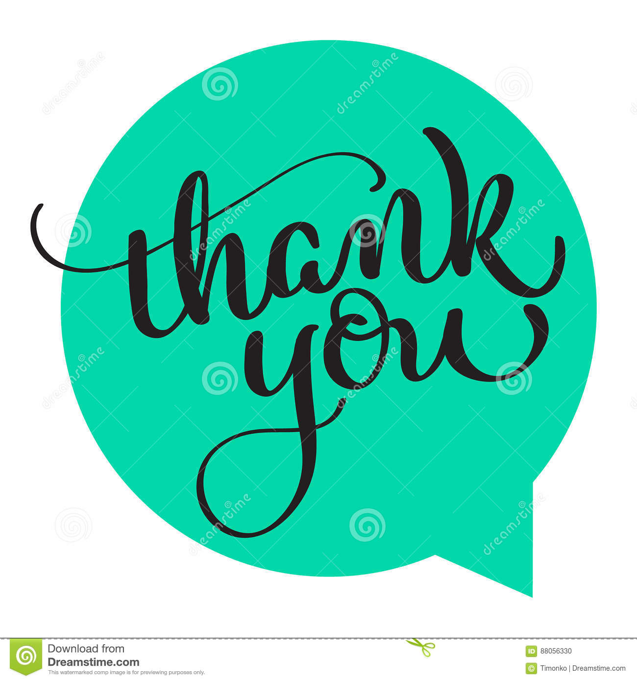 Text thank you on green background. Calligraphy lettering Vector illustration EPS10