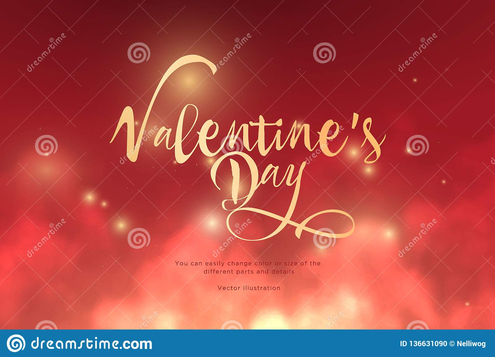Text Valentine`s Day golden color in the clouds.Low poly wireframe art on red background.Concept for holiday or magic or miracle.