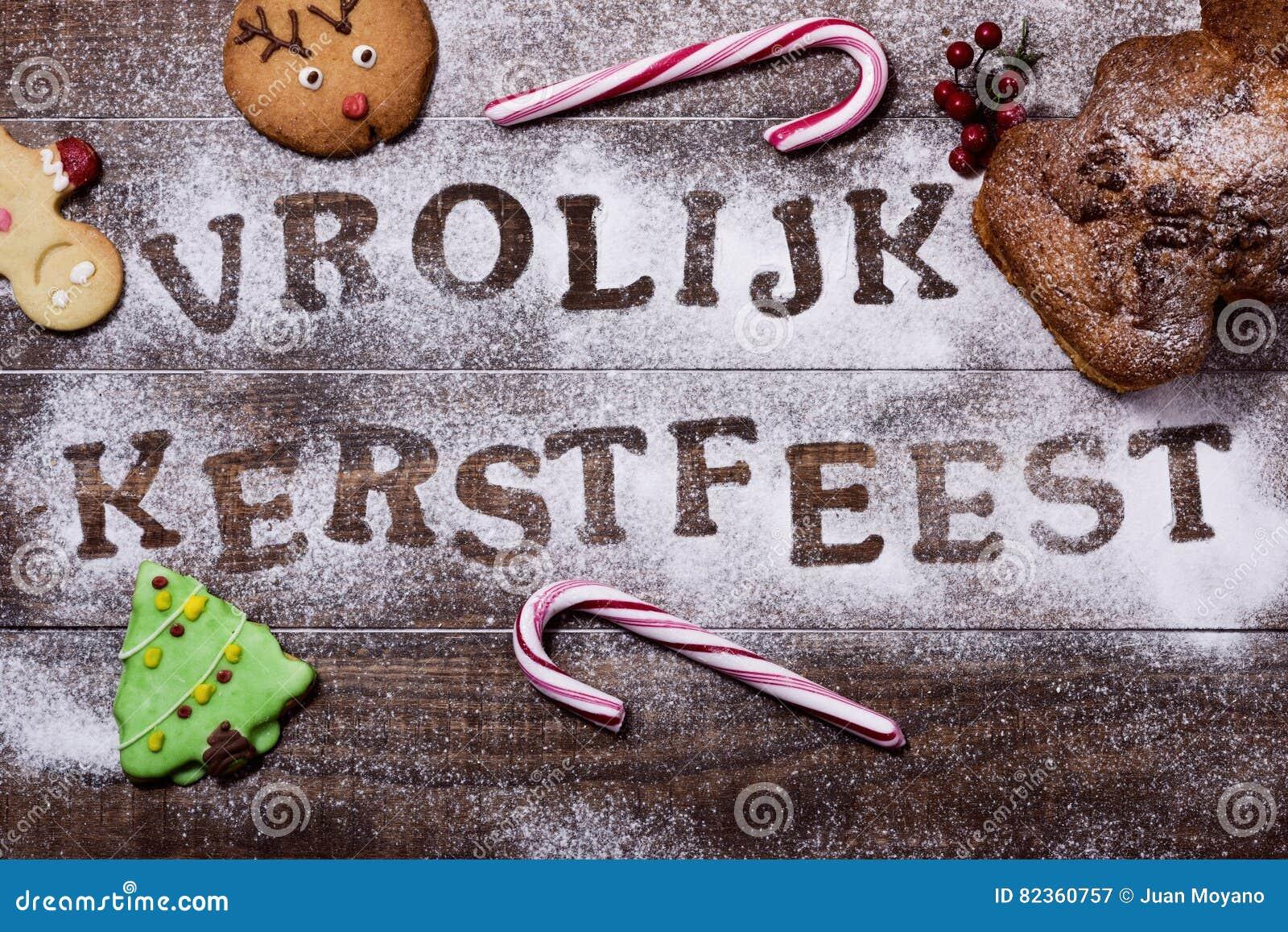 Merry Christmas In Dutch.Text Vrolijk Kerstfeest Merry Christmas In Dutch Stock