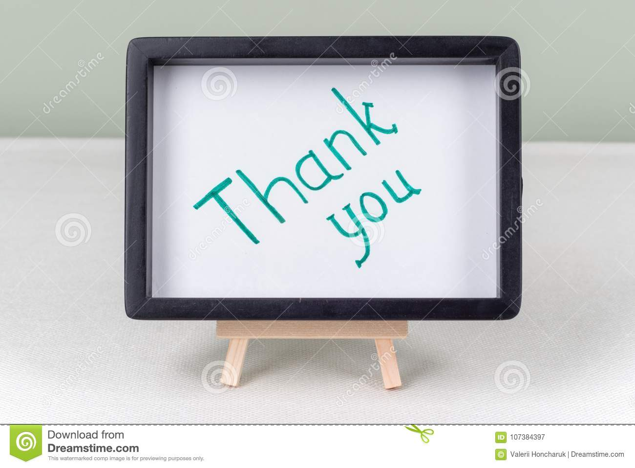 Text Word THANK YOU, Black Frame, On White Table. Stock Image ...