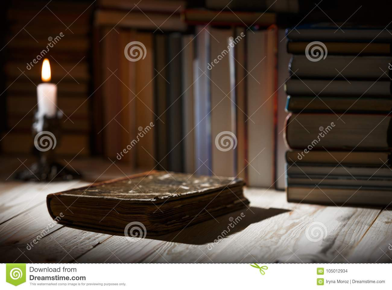 Textbooks And Books On A Wooden Table Stock Photo Image