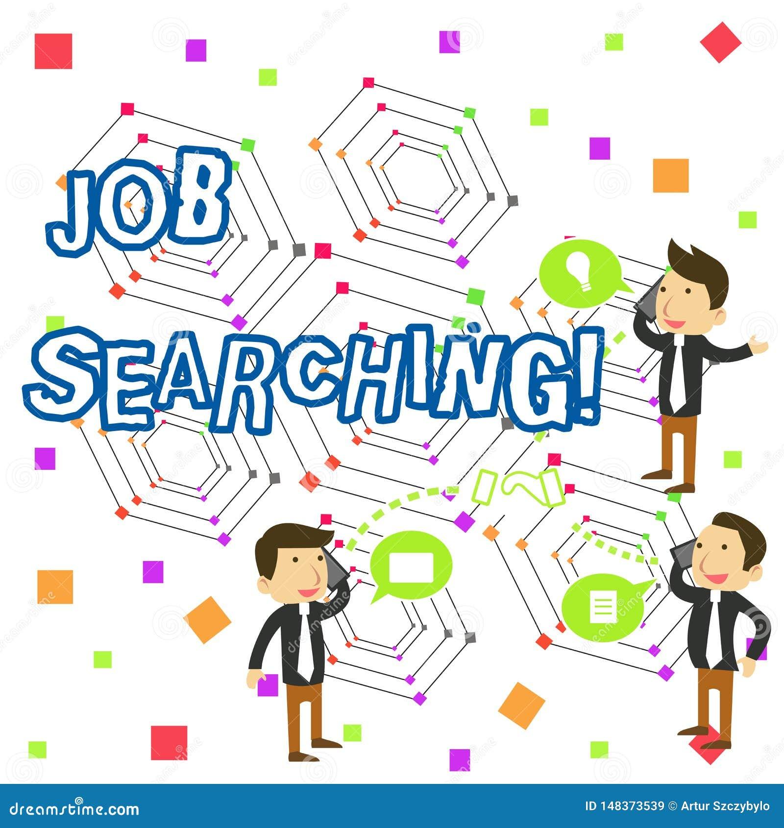 Texte d écriture écrivant la recherche du travail Concept signifiant l acte de rechercher la recherche d emploi d emploi ou la ch