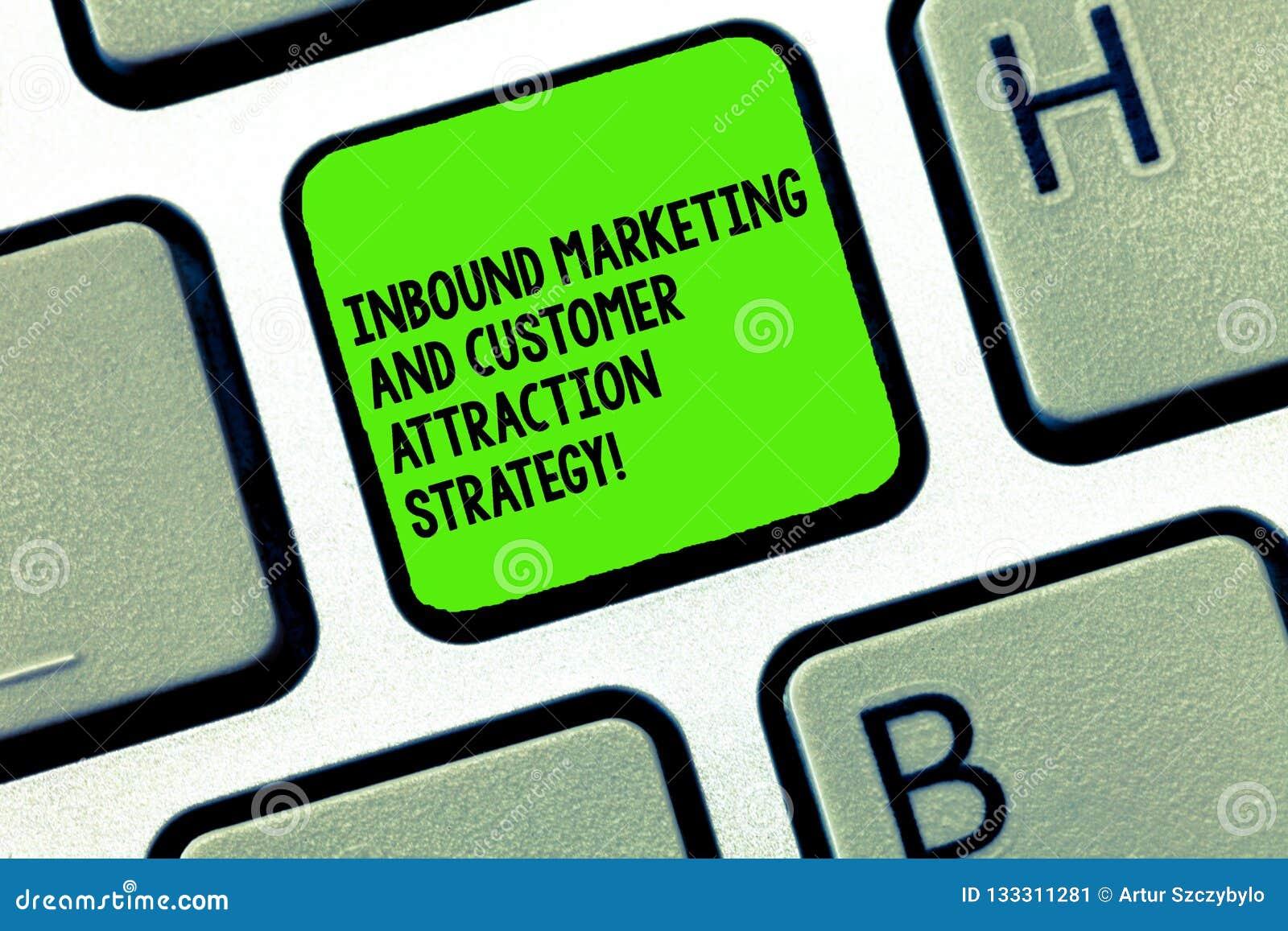 Texte d écriture écrivant la stratégie d arrivée d attraction de vente et de client La signification de concept favorisent votre