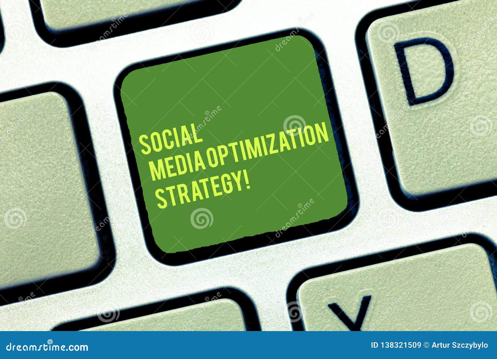 Texte d écriture écrivant la stratégie d optimisation sociale de médias Concept signifiant des stratégies de SEO Advertising Mark