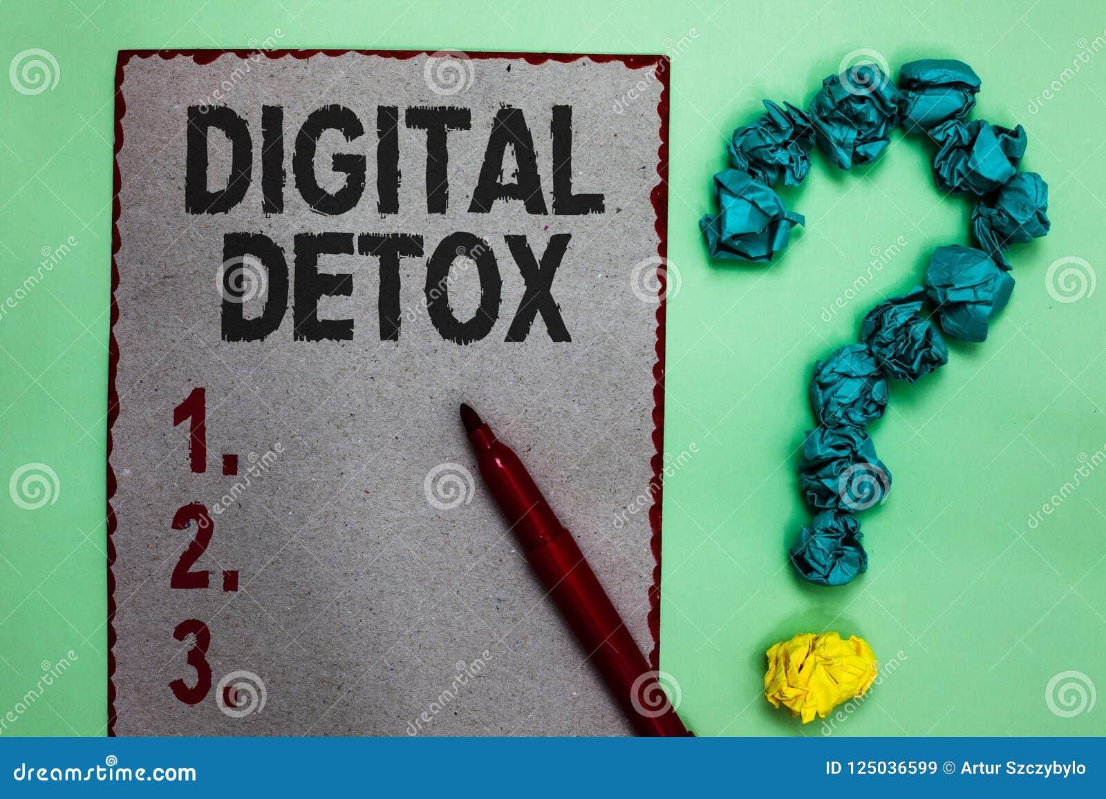 Texte d écriture écrivant le Detox de Digital La signification de concept exempte du débranchement d appareils électroniques pour