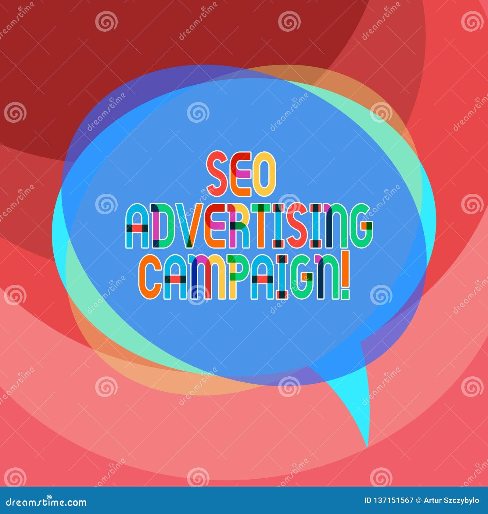 Texte d écriture écrivant Seo Advertising Campaign Signification de concept favorisant un site pour augmenter le nombre de lien d