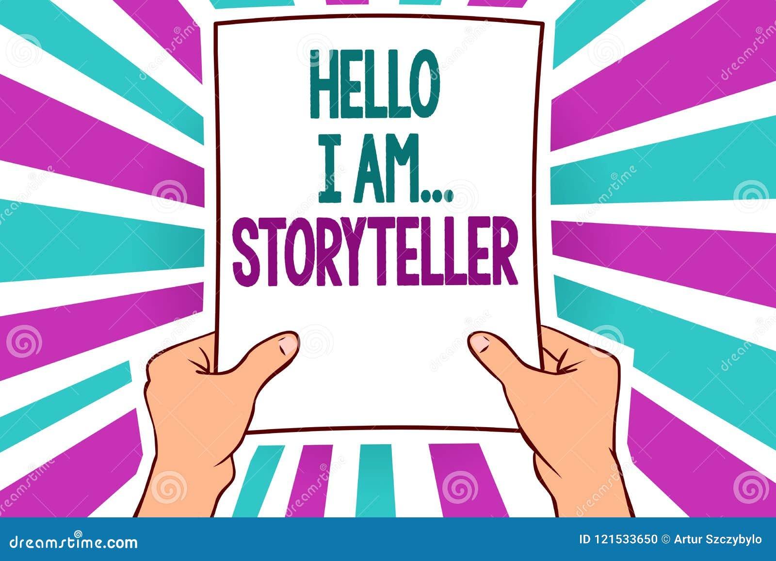 Texte d écriture de Word bonjour je suis storyteller Concept d affaires pour se présenter comme auteur Man d article de romans te