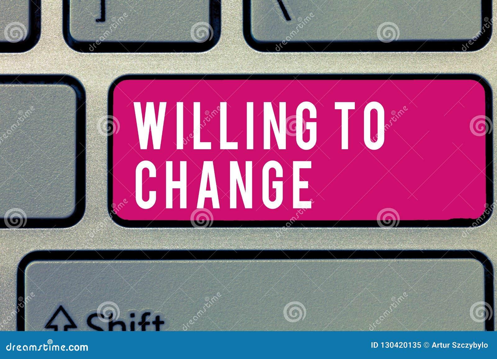 Texte d écriture de Word voulant changer Concept d affaires pour que le désir se développe désireux d accepter et adopter de nouv