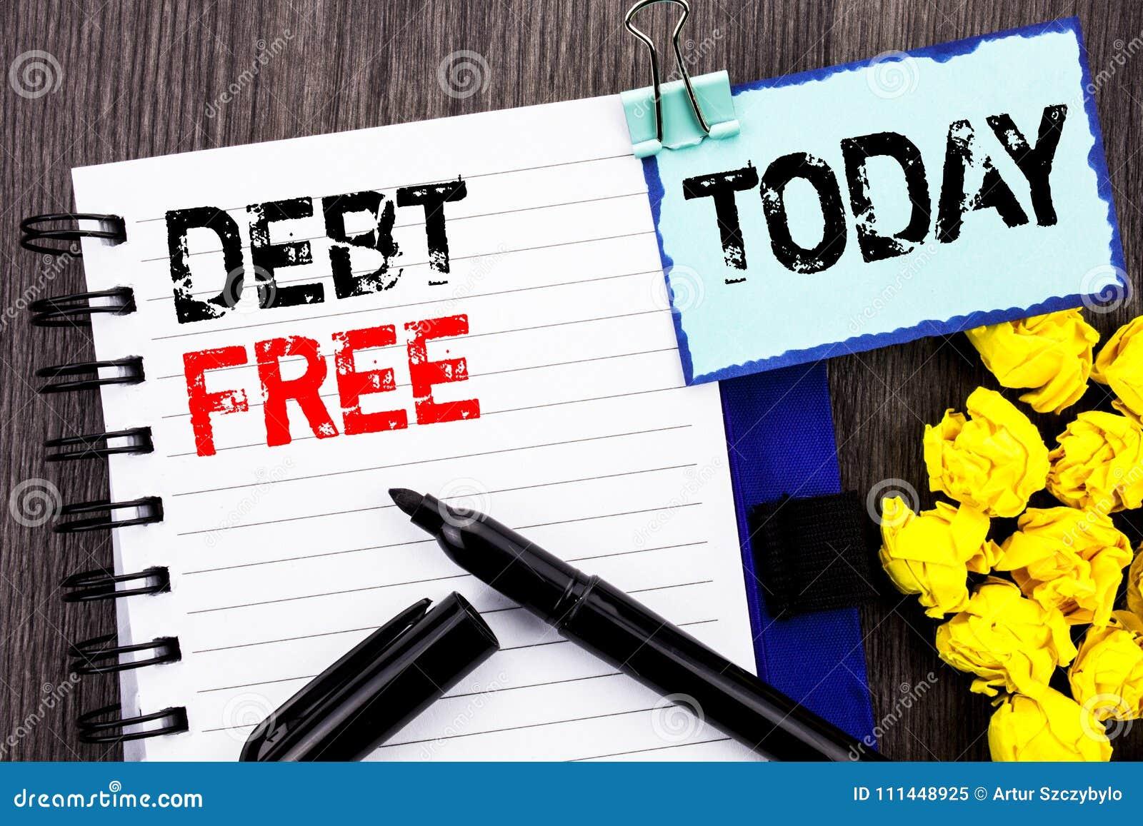 Texte d écriture montrant la dette gratuite Absence financière de présentation de signe d argent de crédit de photo d affaires de