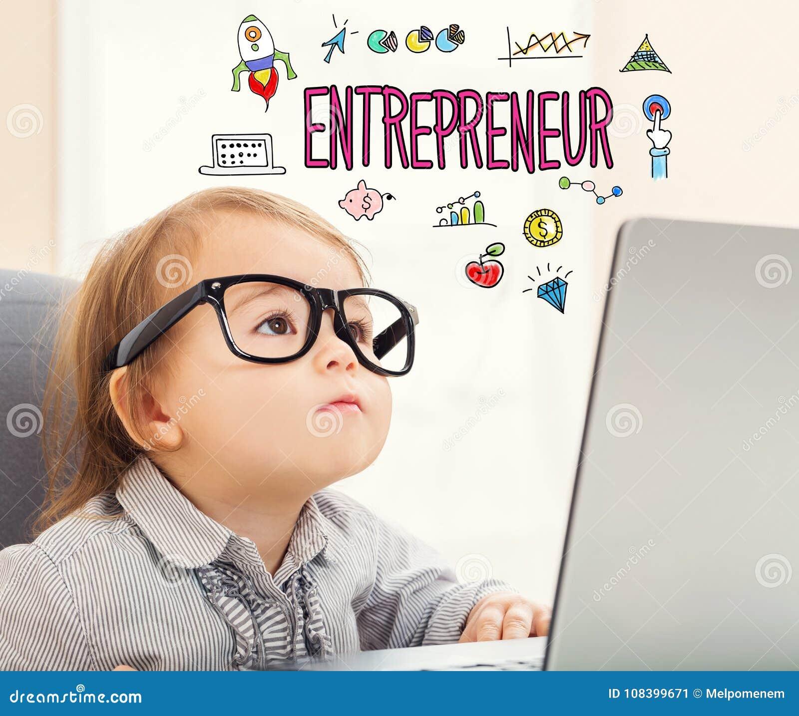 Texte d entrepreneur avec la fille d enfant en bas âge