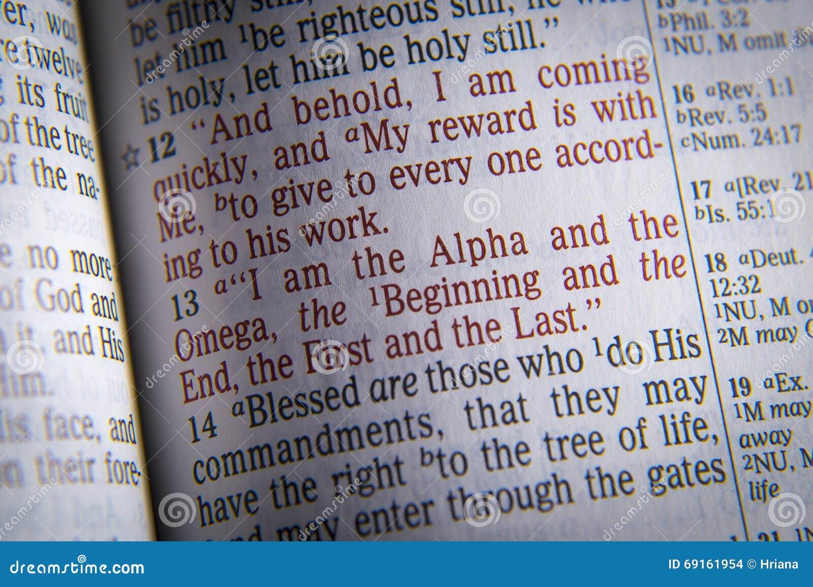 Texte de bible je suis l alpha et l Omega