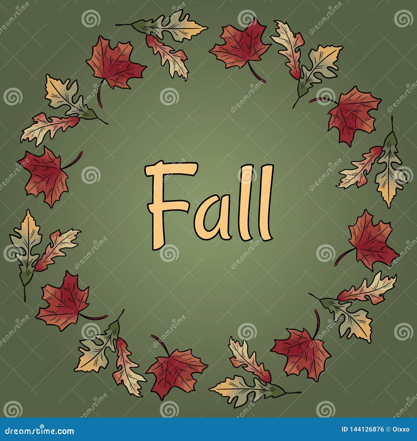 Texte de chute en ornement de guirlande de feuilles d automne Feuillage orange et rouge d automne