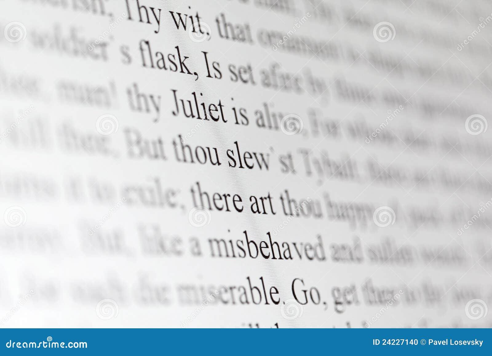 Texte de drame Romeo et Juliet de Shakespeare
