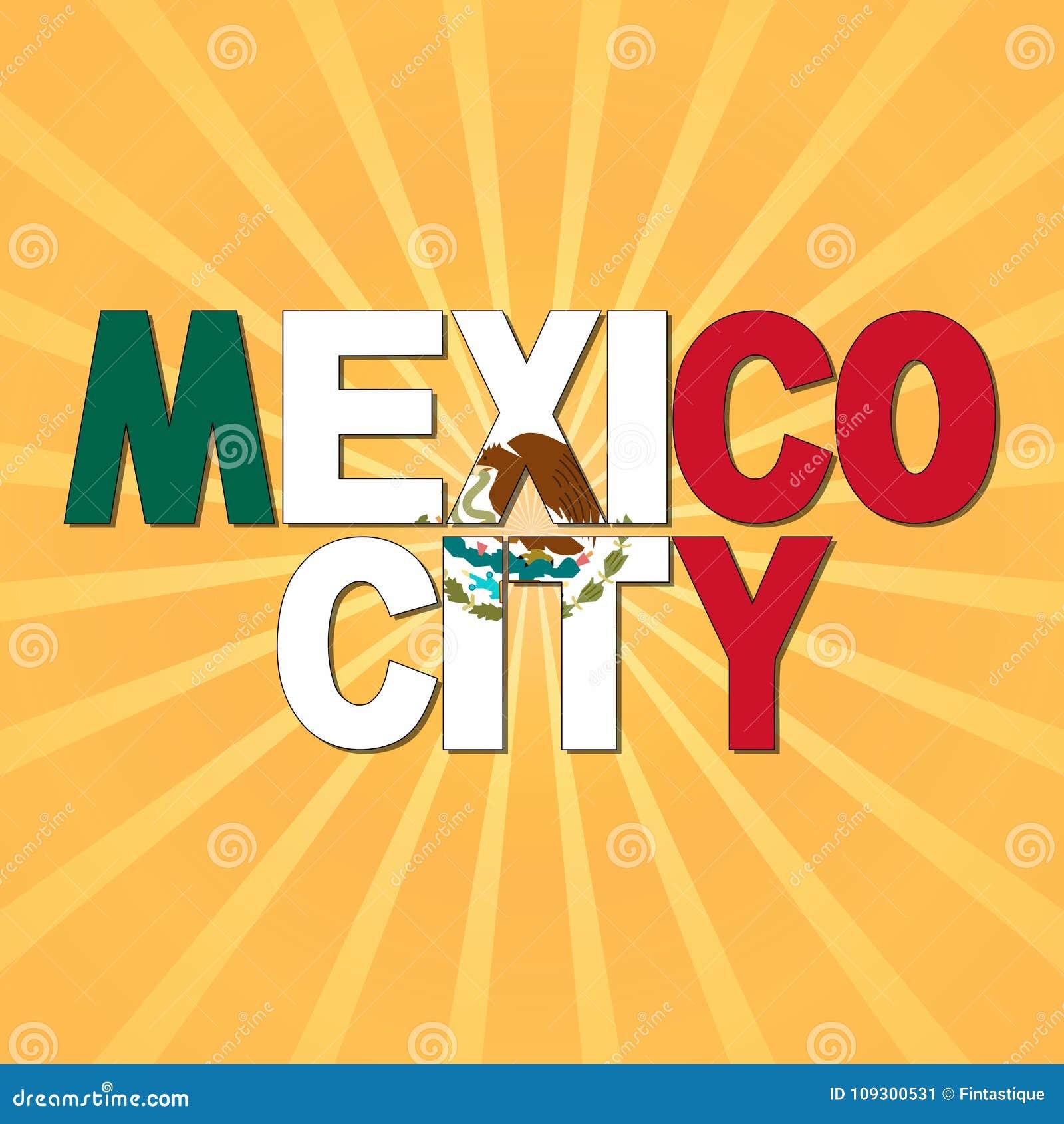 Texte De Drapeau De Mexico Avec Lillustration De Rayon De Soleil