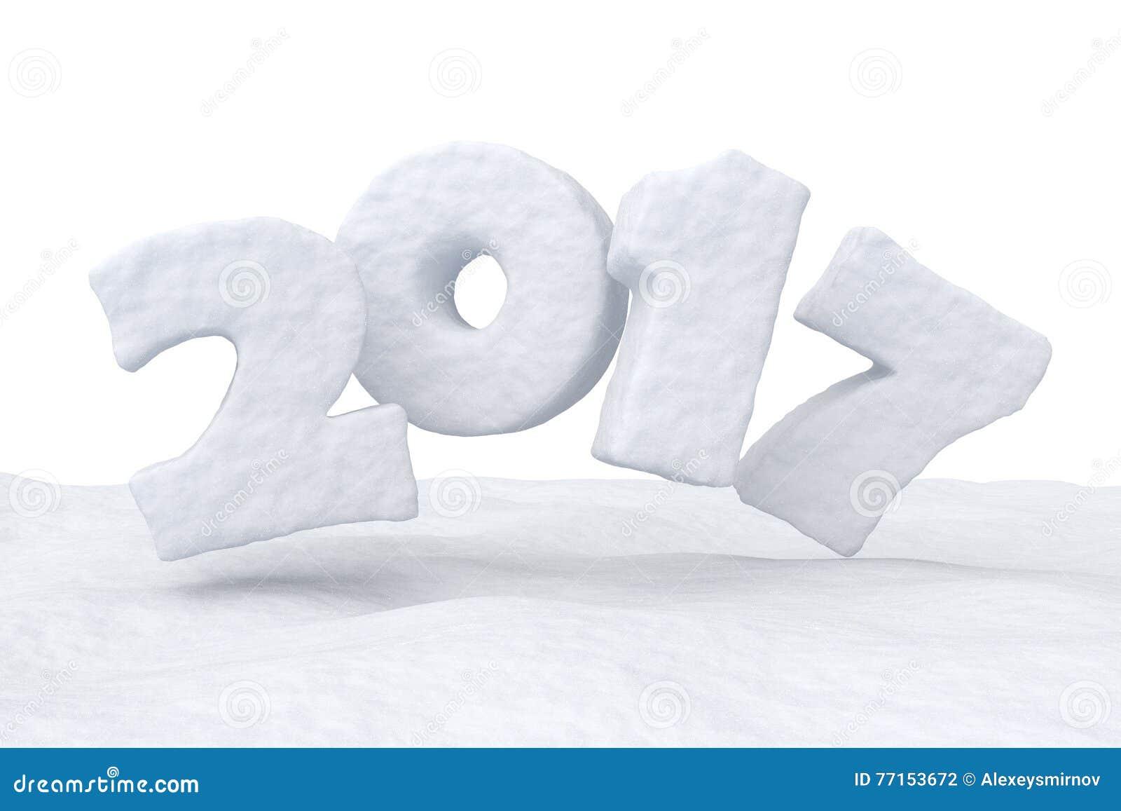 Texte de neige de 2017 bonnes années au-dessus de la surface de neige