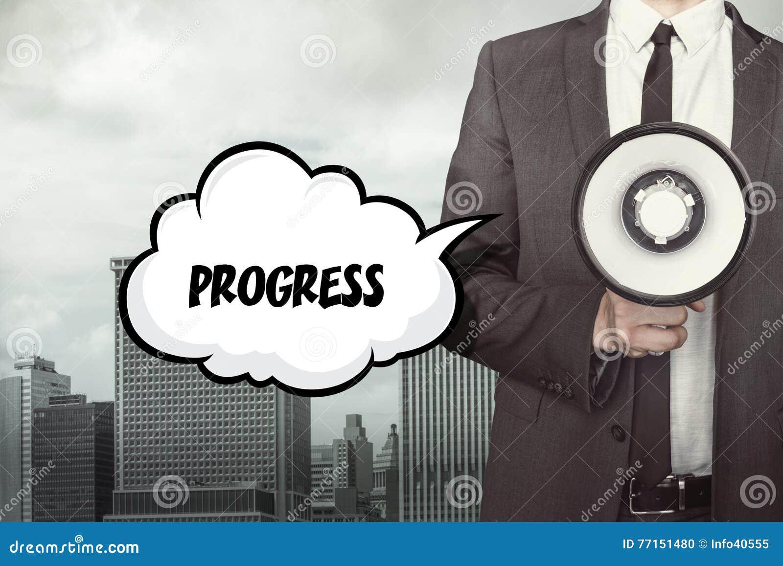 Texte de progrès sur la bulle de la parole avec l homme d affaires