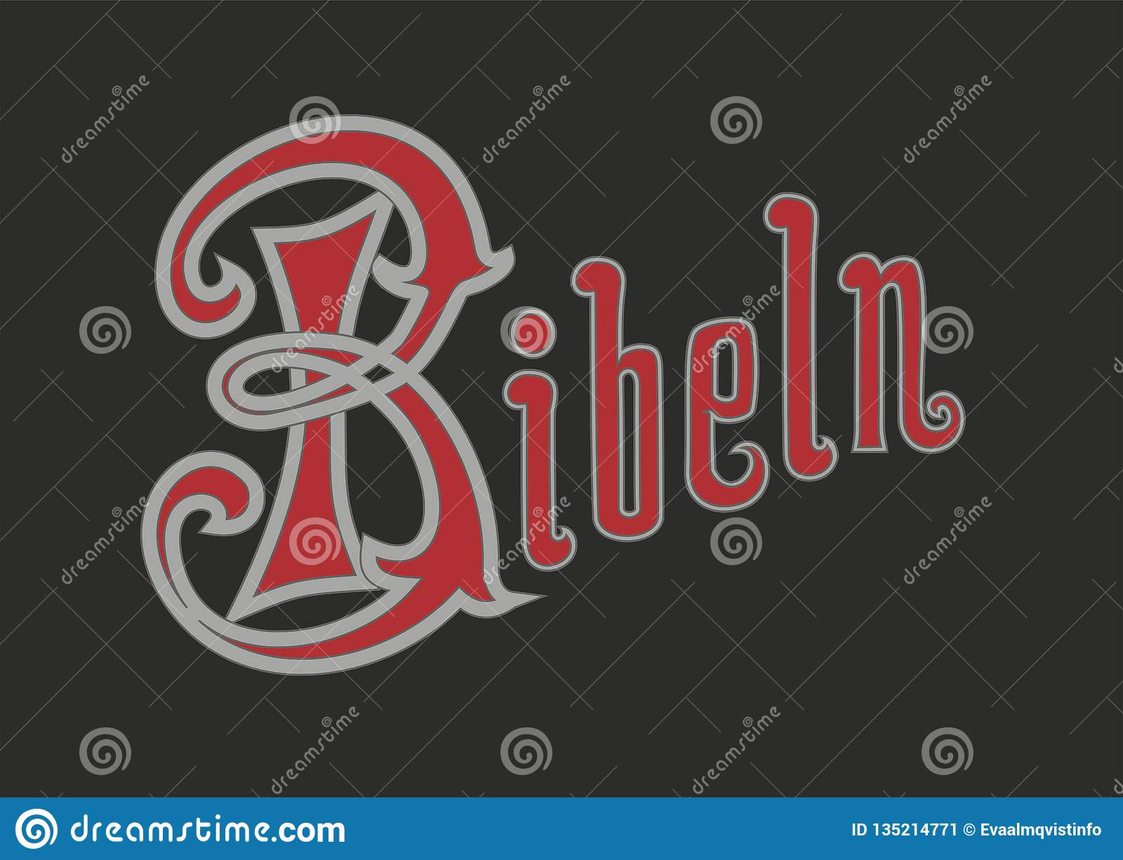 Texte de vecteur dans le Suédois de la bible de style ancien Le mot suédois est Bibel comme dans l image
