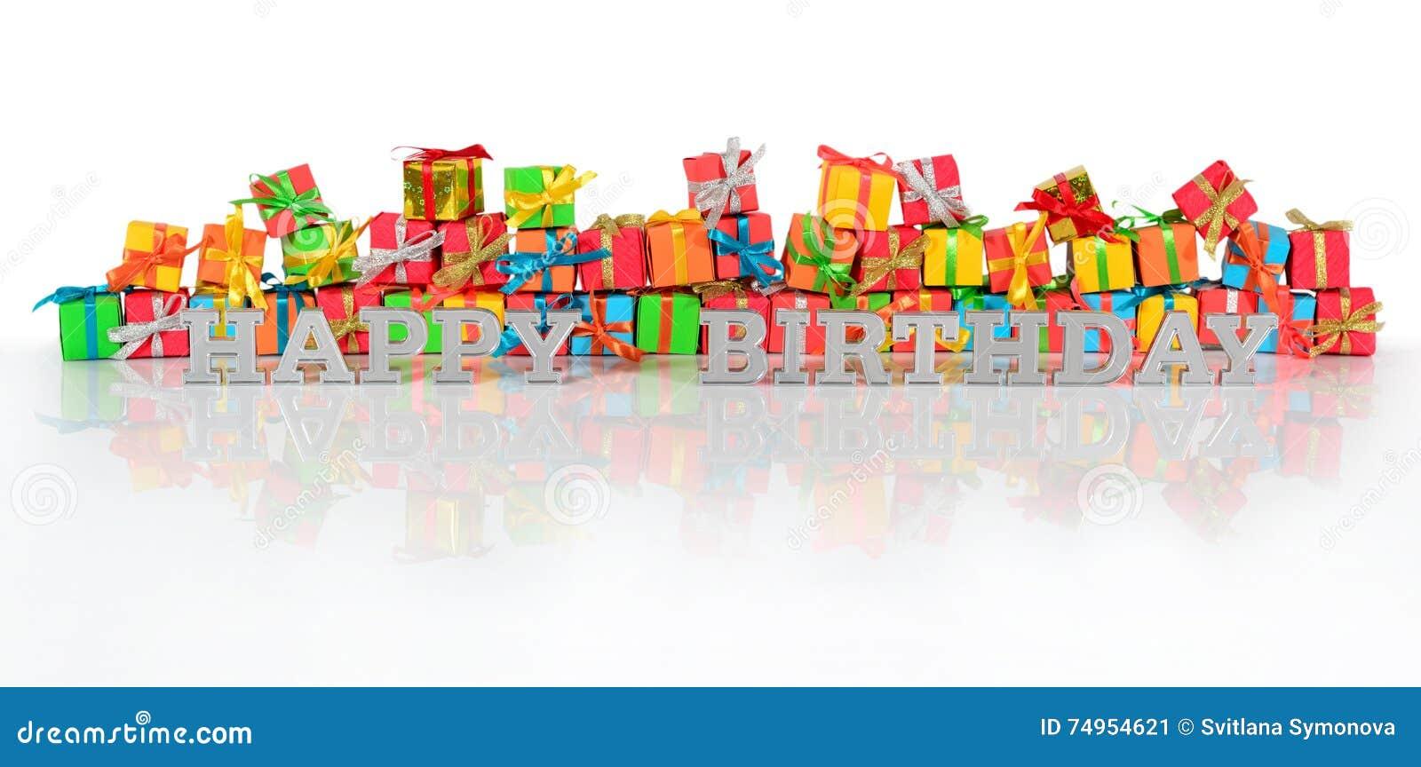 Texte Et Cadeaux Dargent De Joyeux Anniversaire Image Stock
