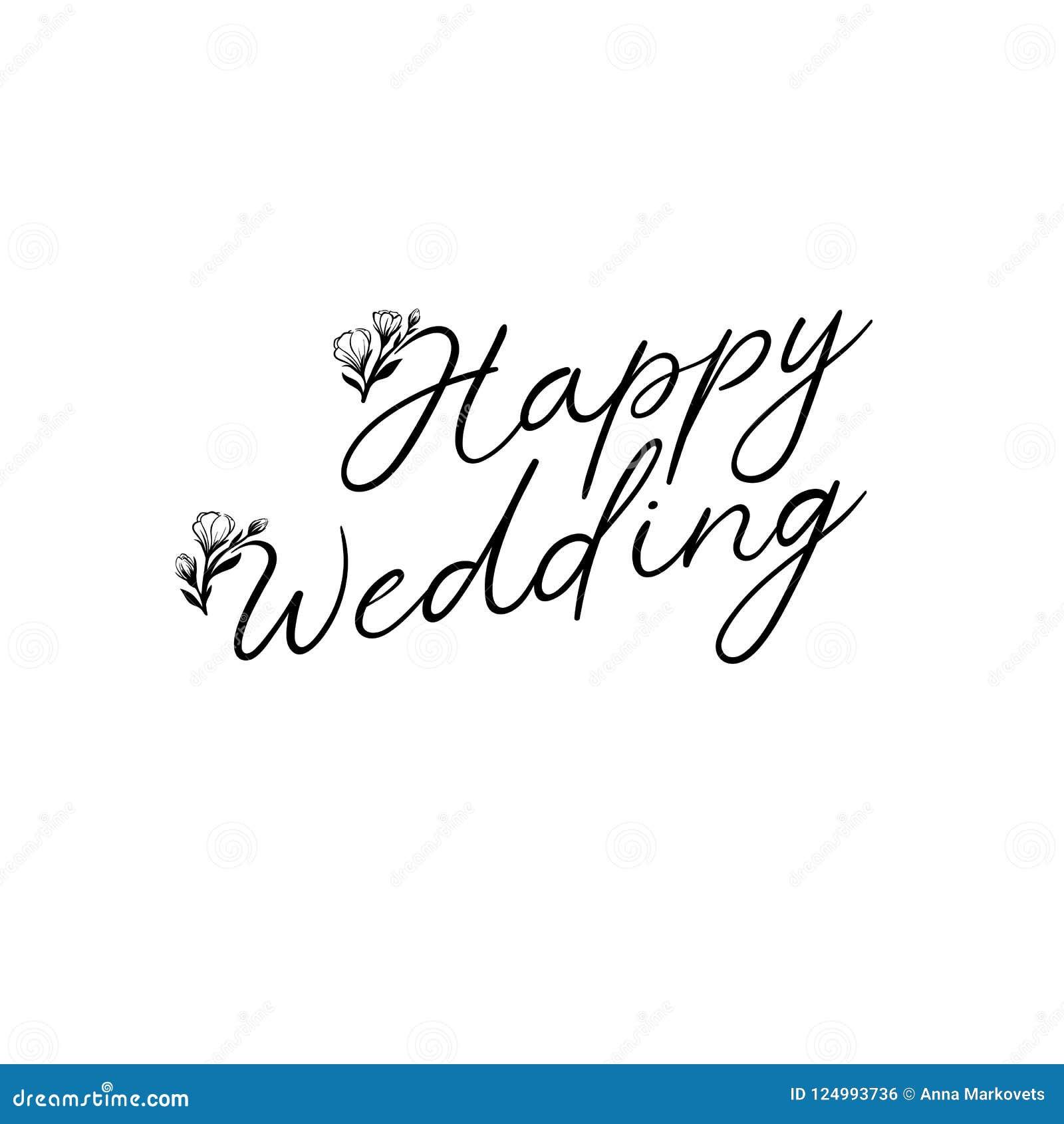 Texte heureux de lettrage de main de mariage Inscription de calligraphie  pour des cartes de voeux