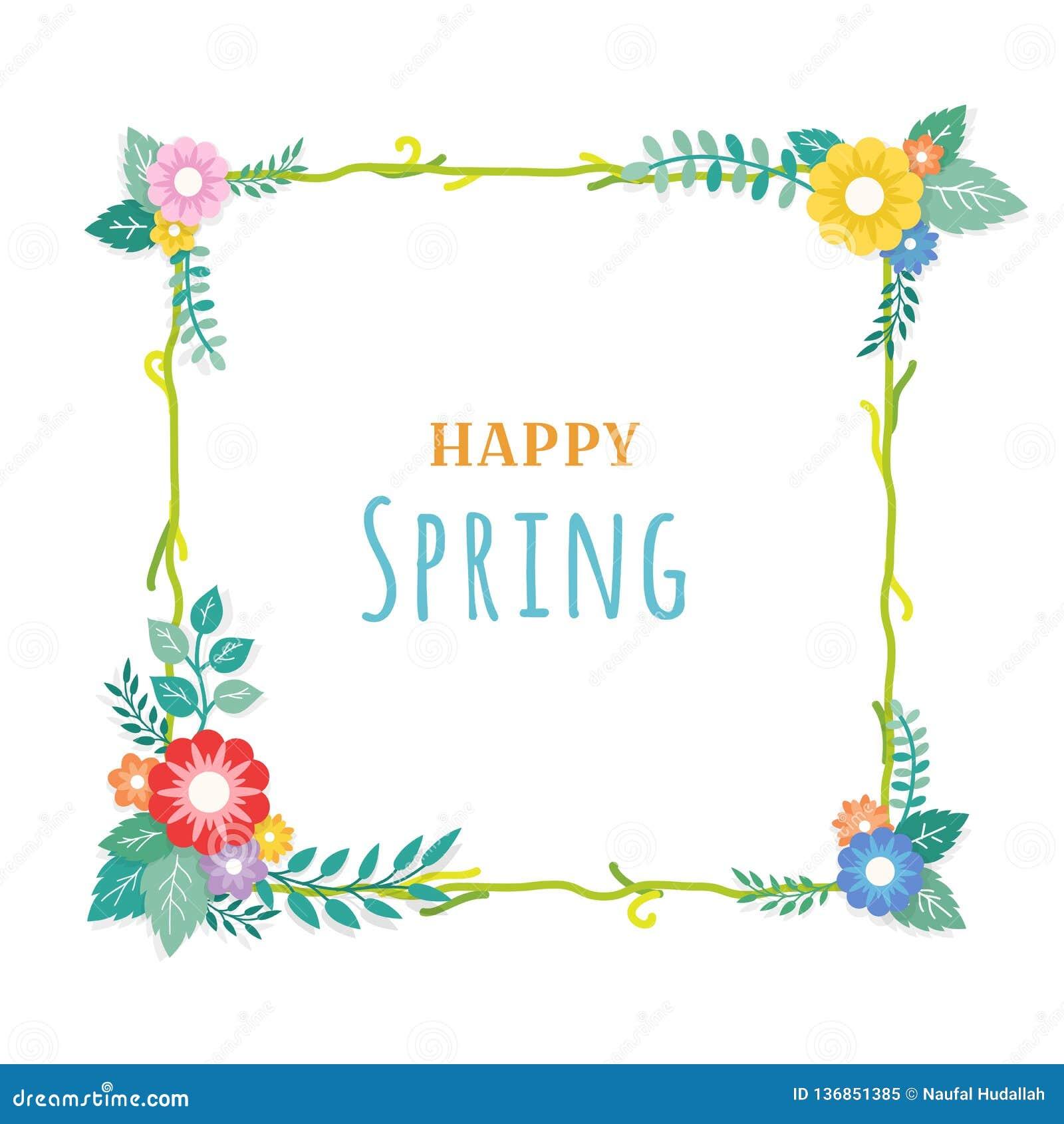 Texte heureux de ressort avec le cadre de la composition florale en bouquet et de l ornement de feuille Carte de voeux, fond, aff