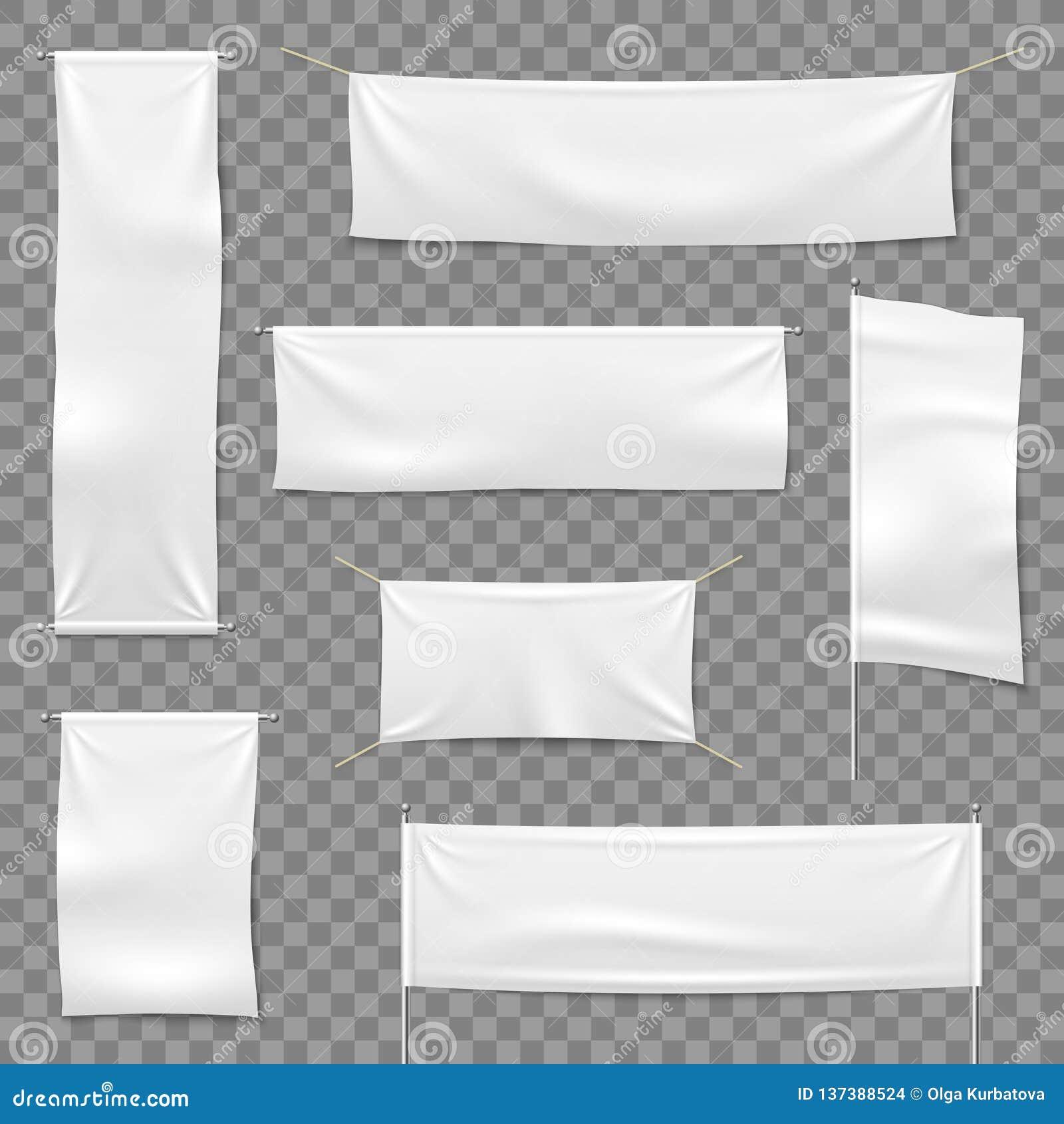 Textiel reclamebanners Vlaggen en hangende banner, het lege teken van de stoffen witte horizontale doek, textiellintenvector