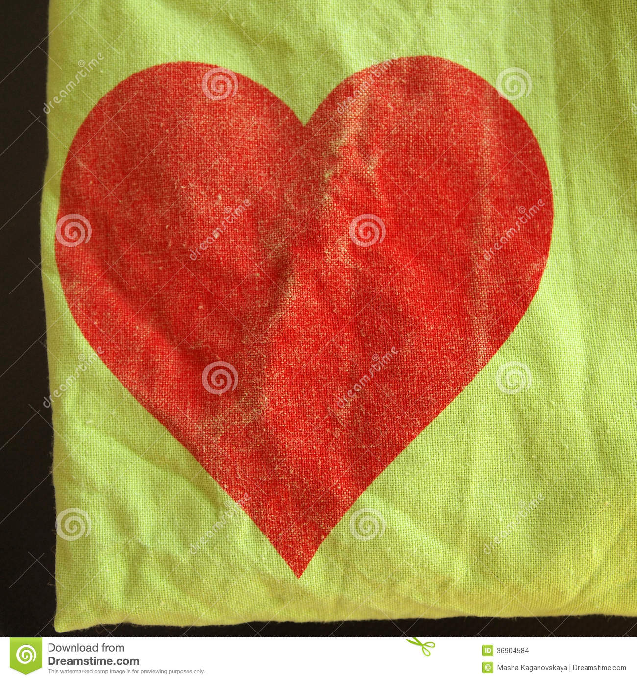 Textile Background With Red Heart Stock Images - Image: 36904584