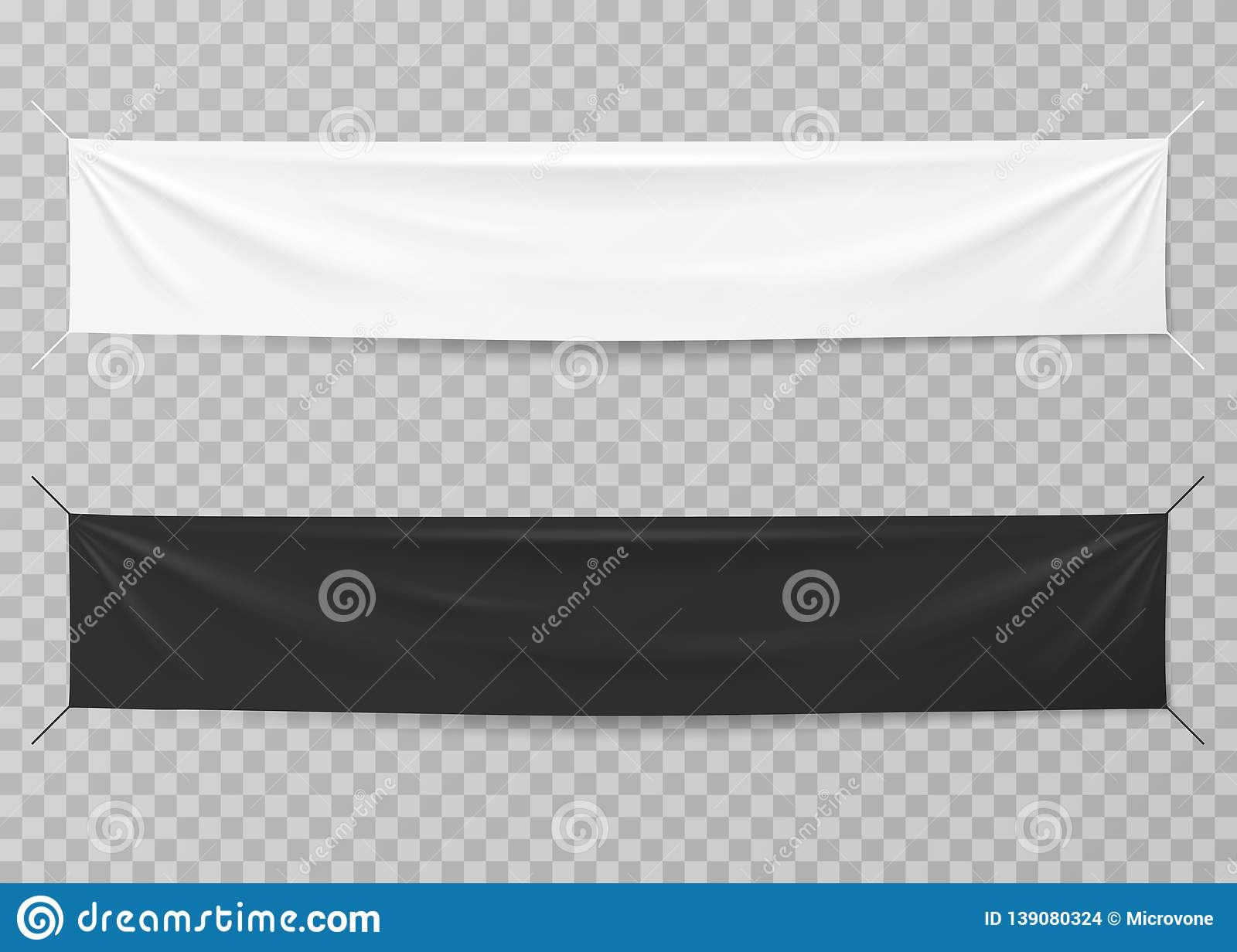 Textile Banners  Black And White Blank Horizontal
