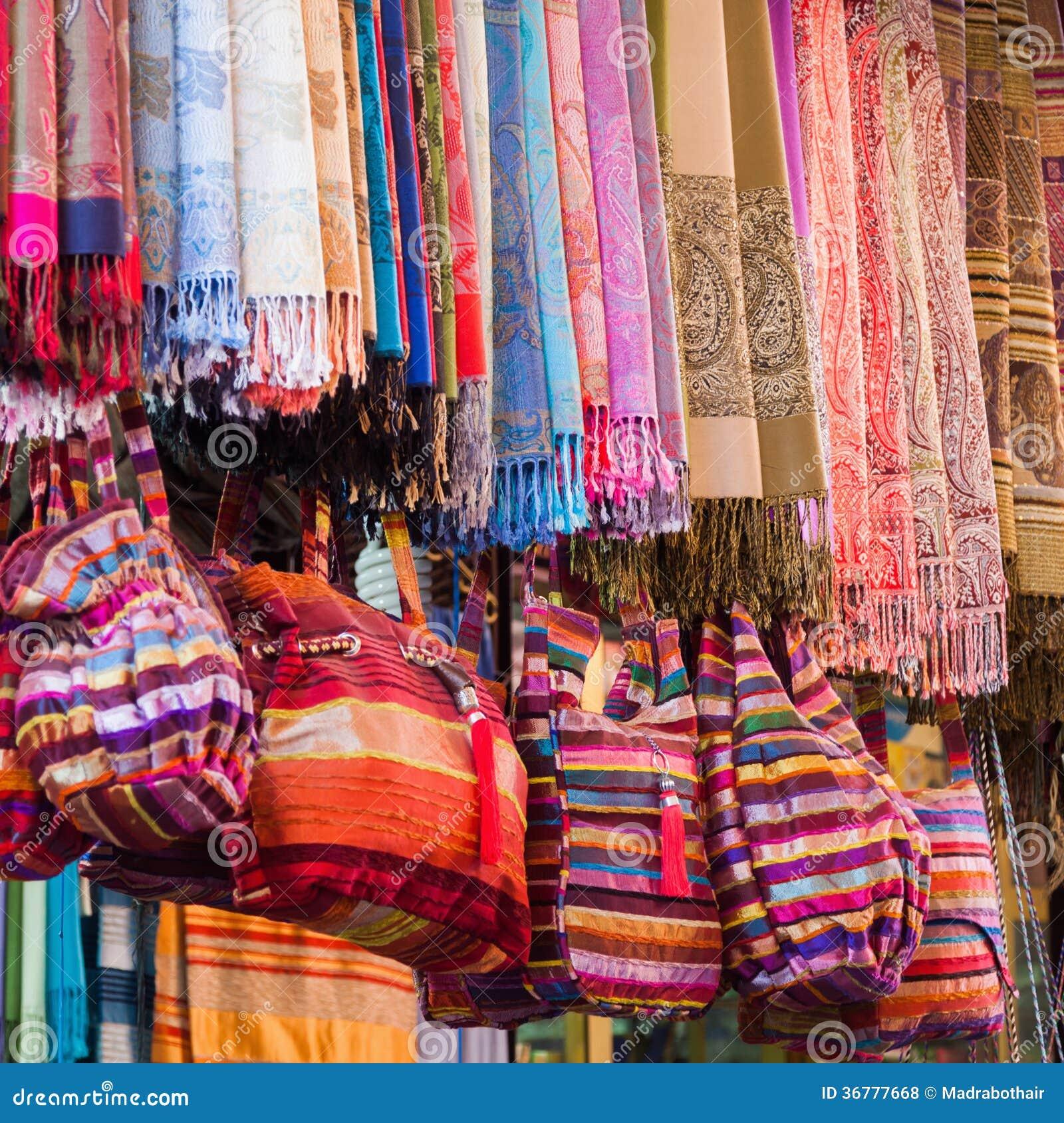 Textile Fabrics From Marrakesh Royalty Free Stock Photos