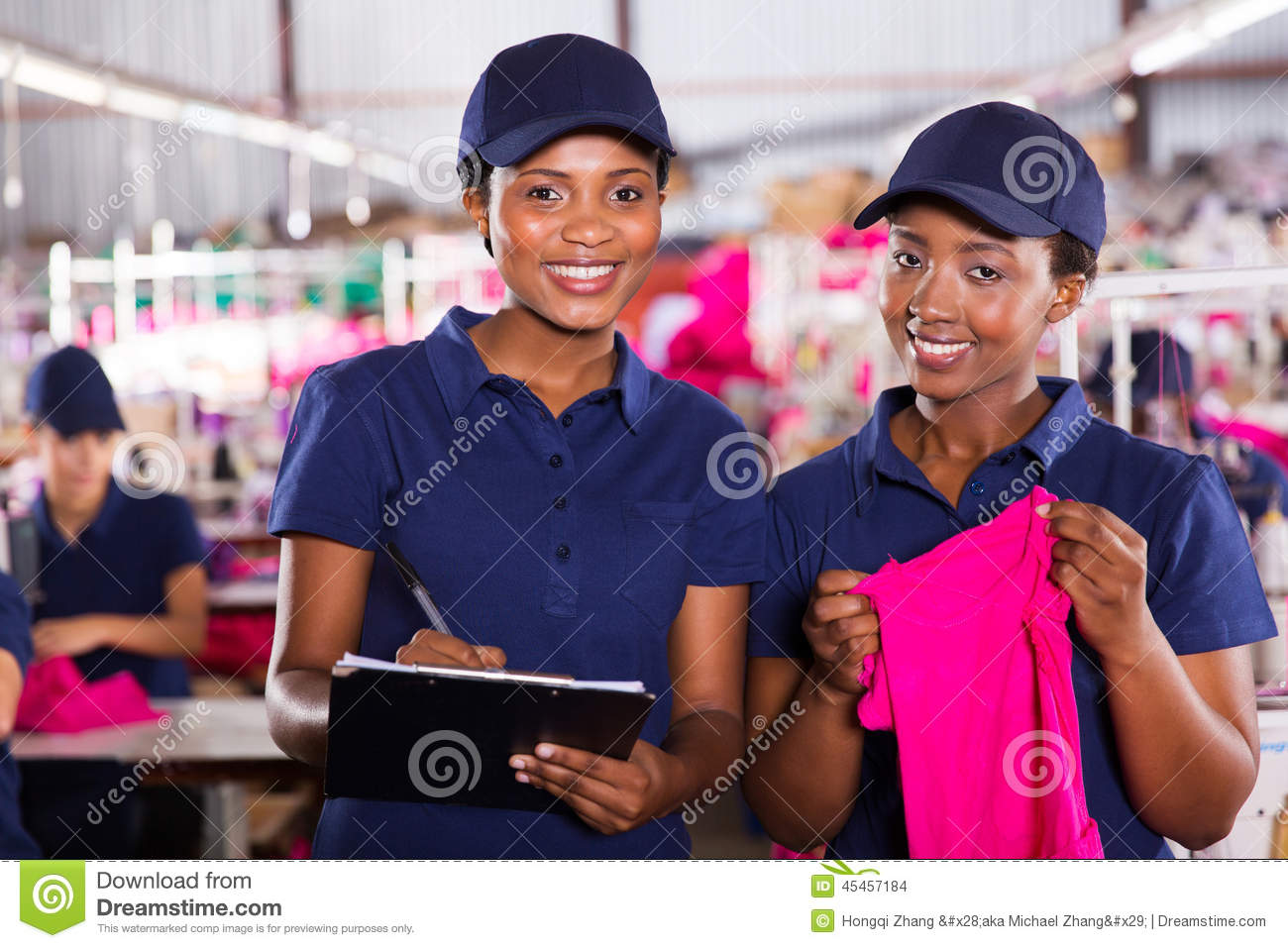 Textile factory co-workers