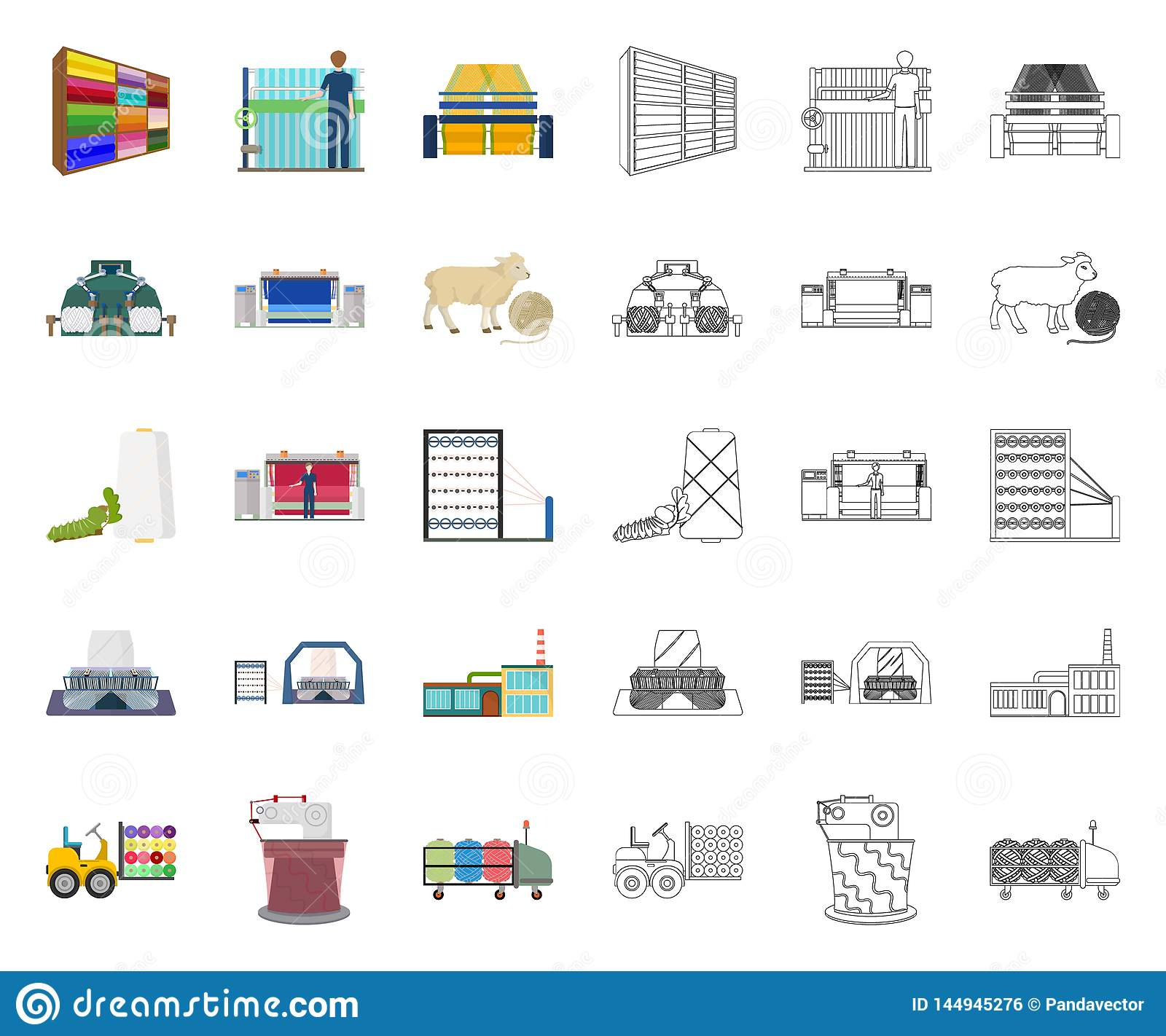 Textile industry cartoon,outline icons in set collection for design.Textile equipment and fabrics vector symbol stock