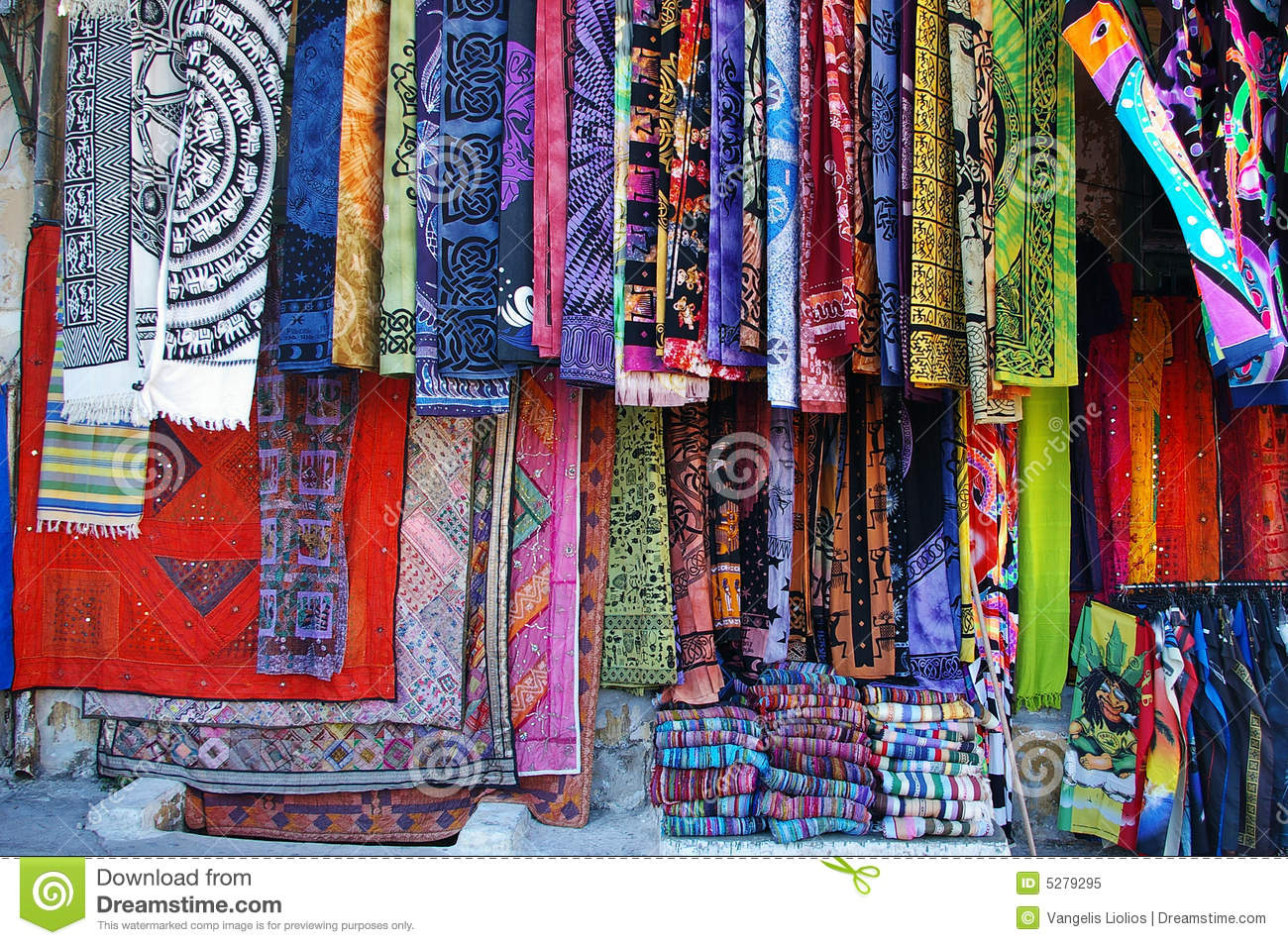 Textile Market Stock Image Image Of Bargain Colors