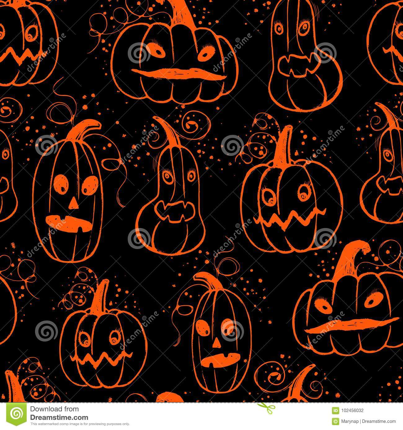Ink hand drawn halloween pattern with pumpkin characters