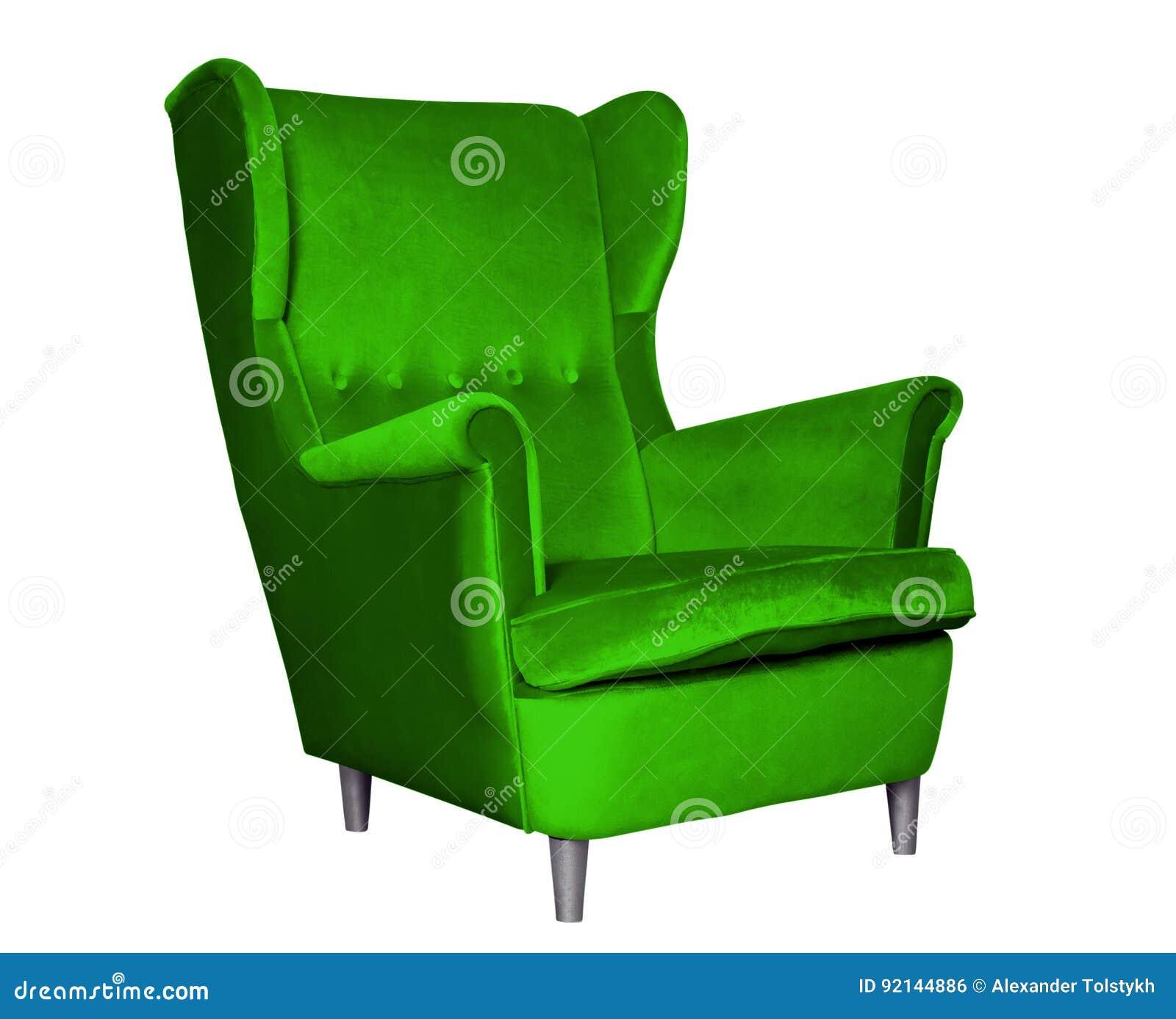 Textilklassischer Grüner Stuhl Stockfoto Bild Von Getrennt