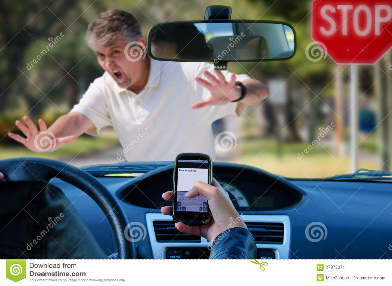 Texting and driving wreck hitting pedestrian
