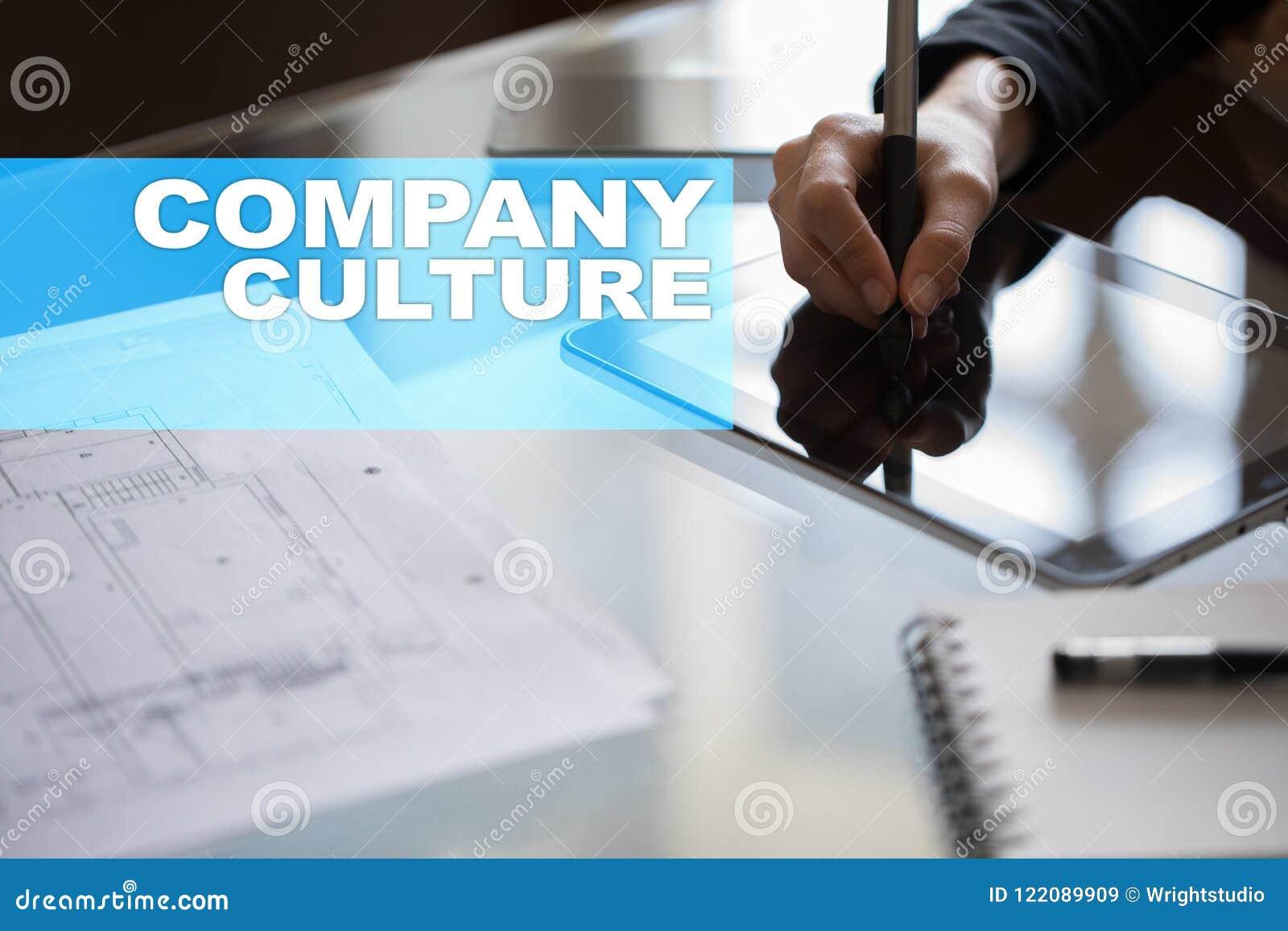 Texto da cultura de empresa na tela virtual Conceito do negócio, da tecnologia e do Internet