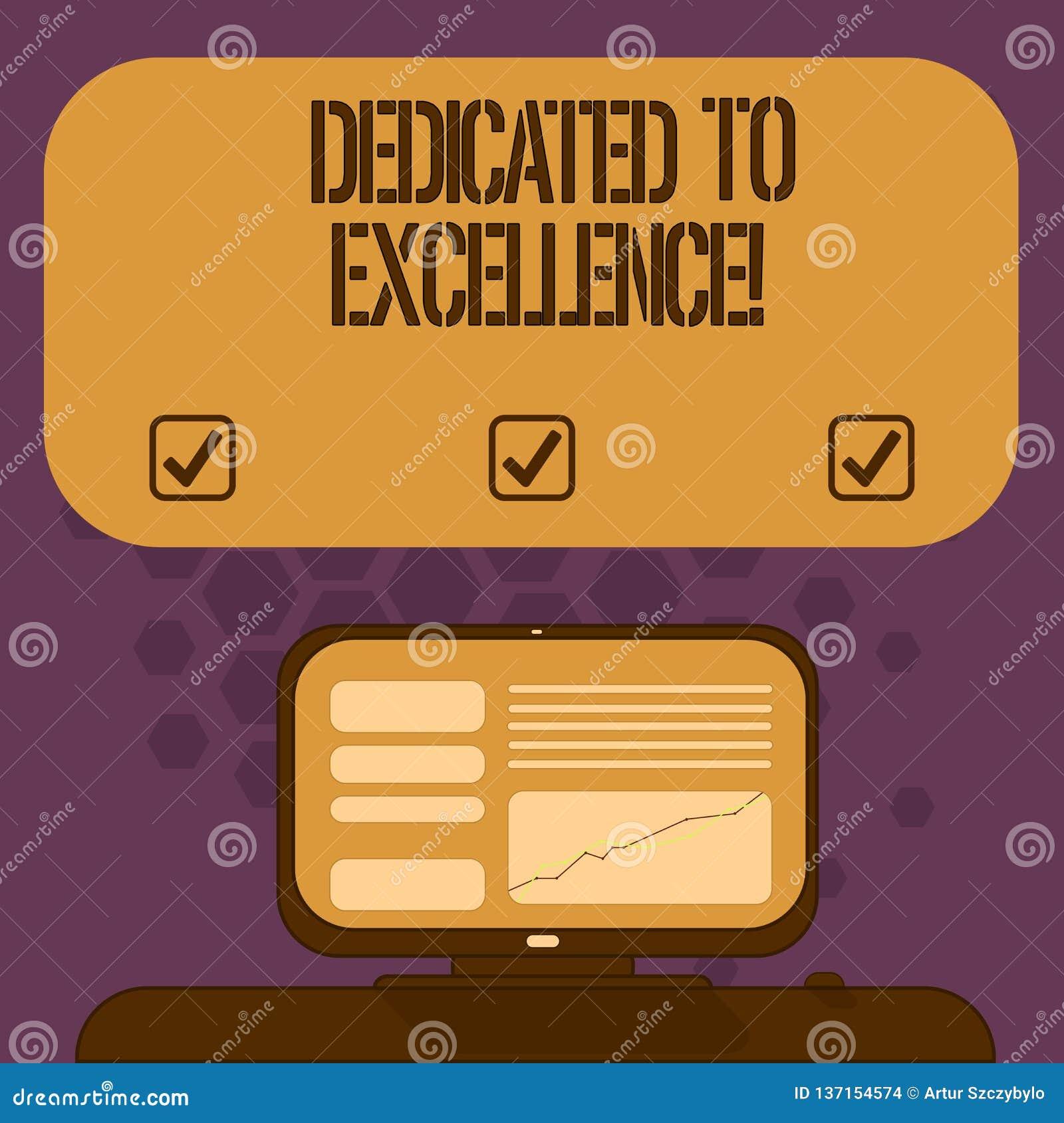 Texto da escrita dedicado à excelência Conceito que significa uma garantia ou uma promessa fazer algo montado excepcionalmente