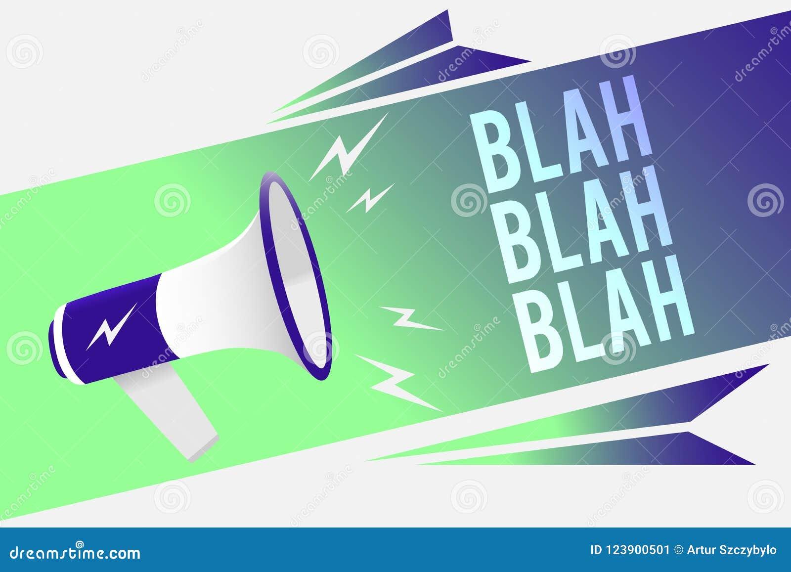 Texto da escrita da palavra blá - blá O conceito do negócio para falar demasiada informação falsa bisbilhota megafone falador lou