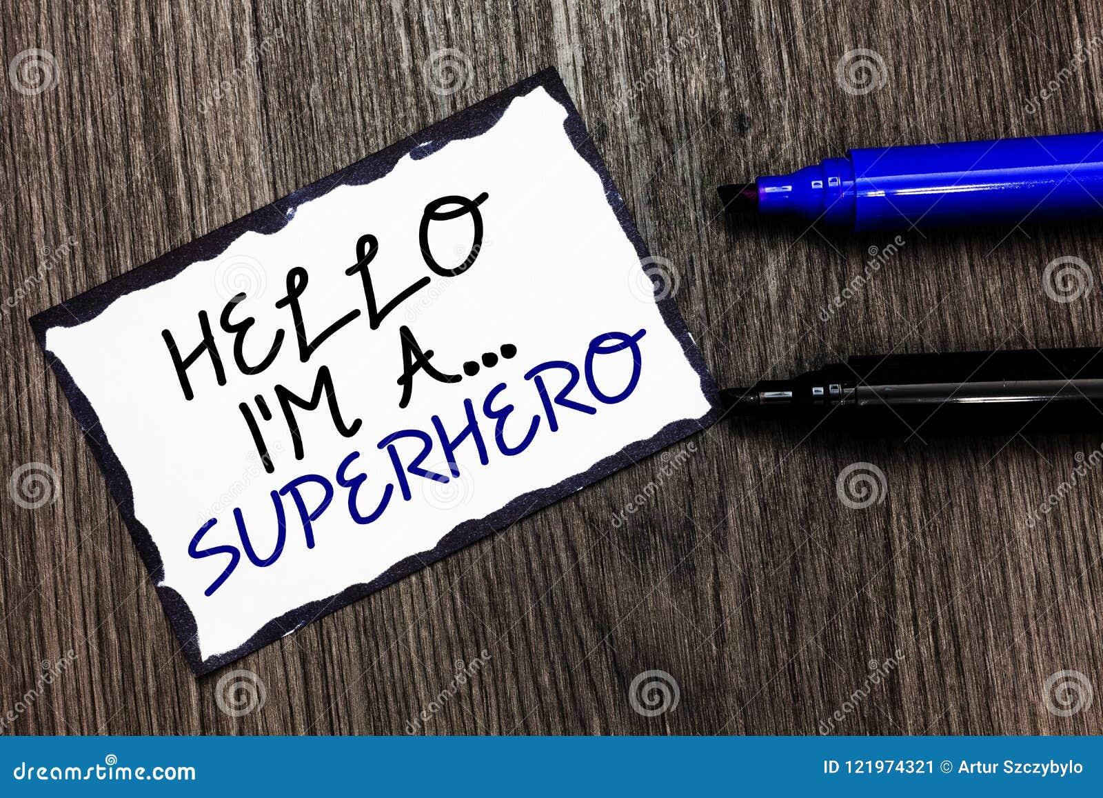Texto da escrita da palavra olá! eu sou A superhero O conceito do negócio para o Special põe o bordere do preto da força da alfân