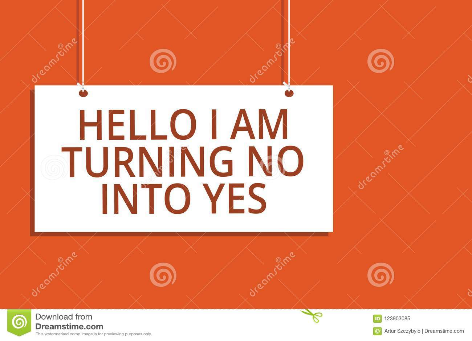 Texto da escrita da palavra olá! que eu estou transformando não em sim O conceito do negócio para o negativo em mudança do persua