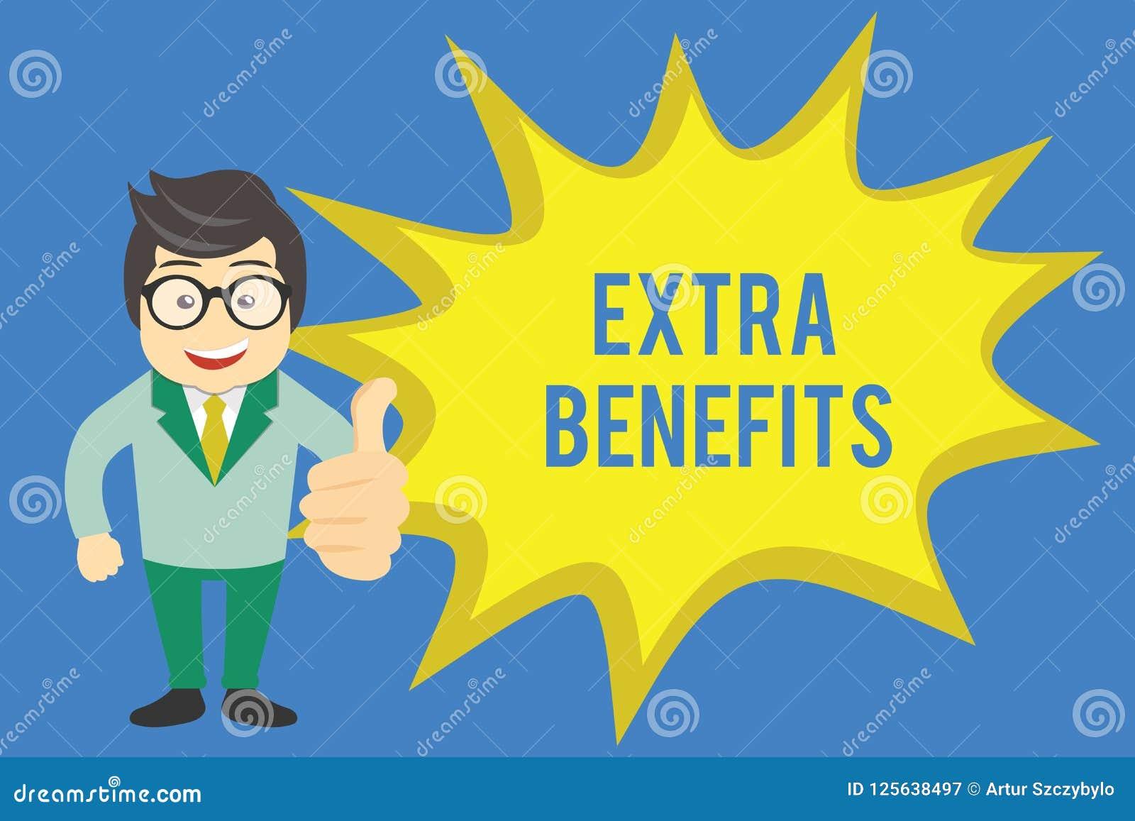 Texto da escrita que escreve benefícios extra Conceito que significa permissões adicionais dos incentivos dos subsídios do bônus