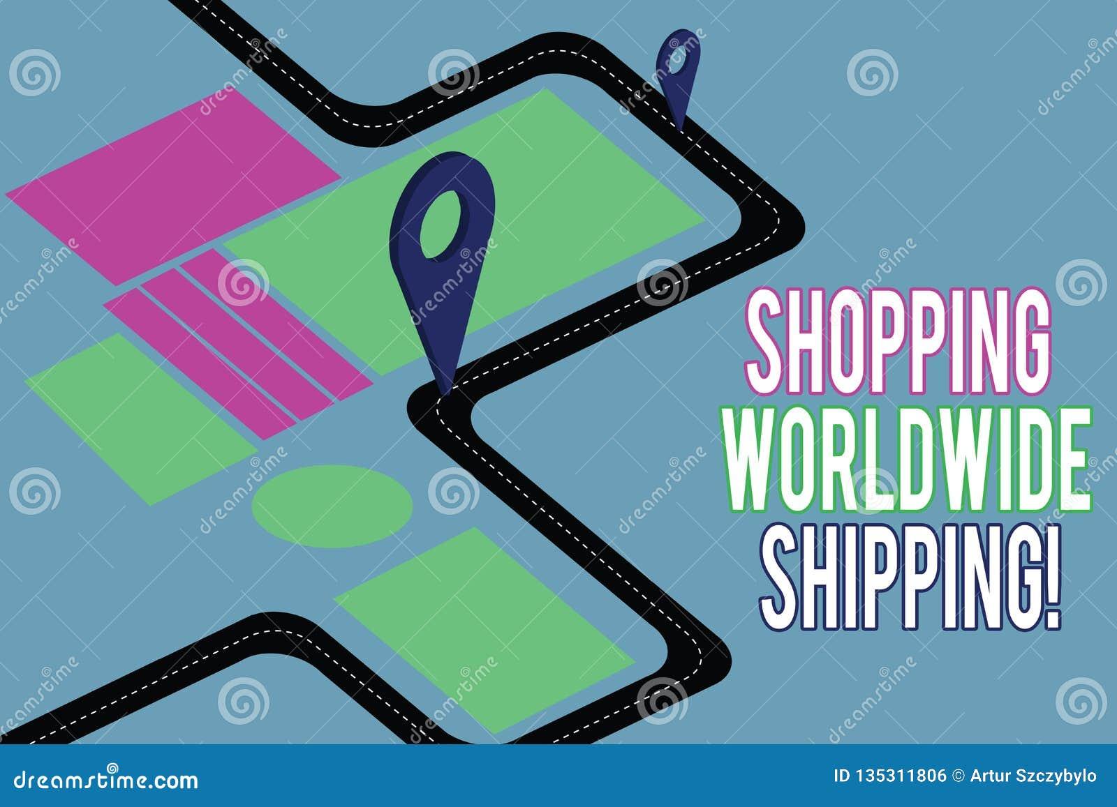 Texto da escrita que escreve o transporte mundial de compra Conceito que significa diretamente comprar em linha com transporte in